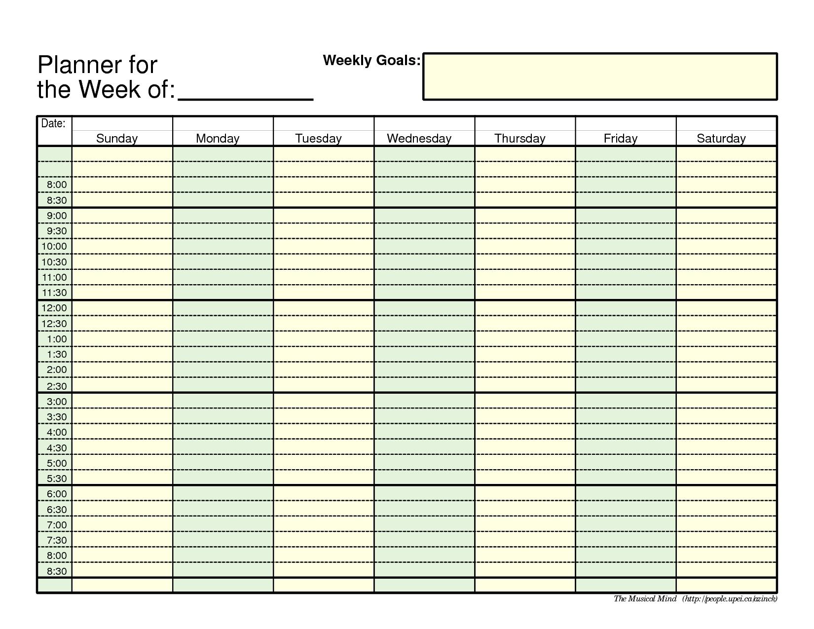 7 Day Weekly Planner Template | Template Calendar Printable throughout 7 Day 12 Week Planner Blank