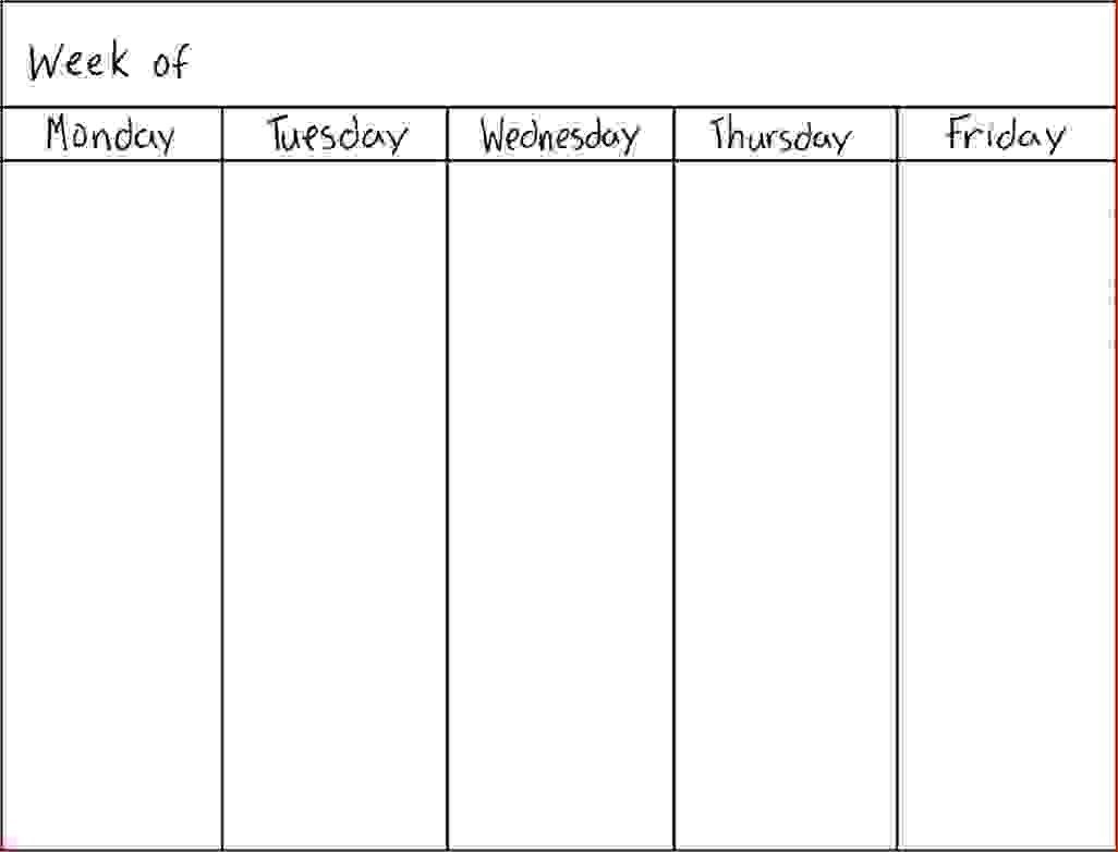 7 Day Weekly Schedule Template Physicminimalisticsco 7 Day Weekly for 7 Day Week Blank Calendar