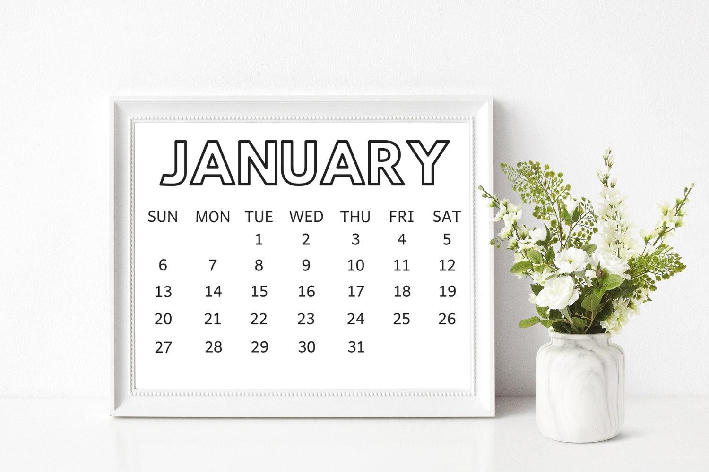 8X10 2019 Printable Calendar Printable Coloring Calendar | Etsy intended for 8 X 10 Print Calendar