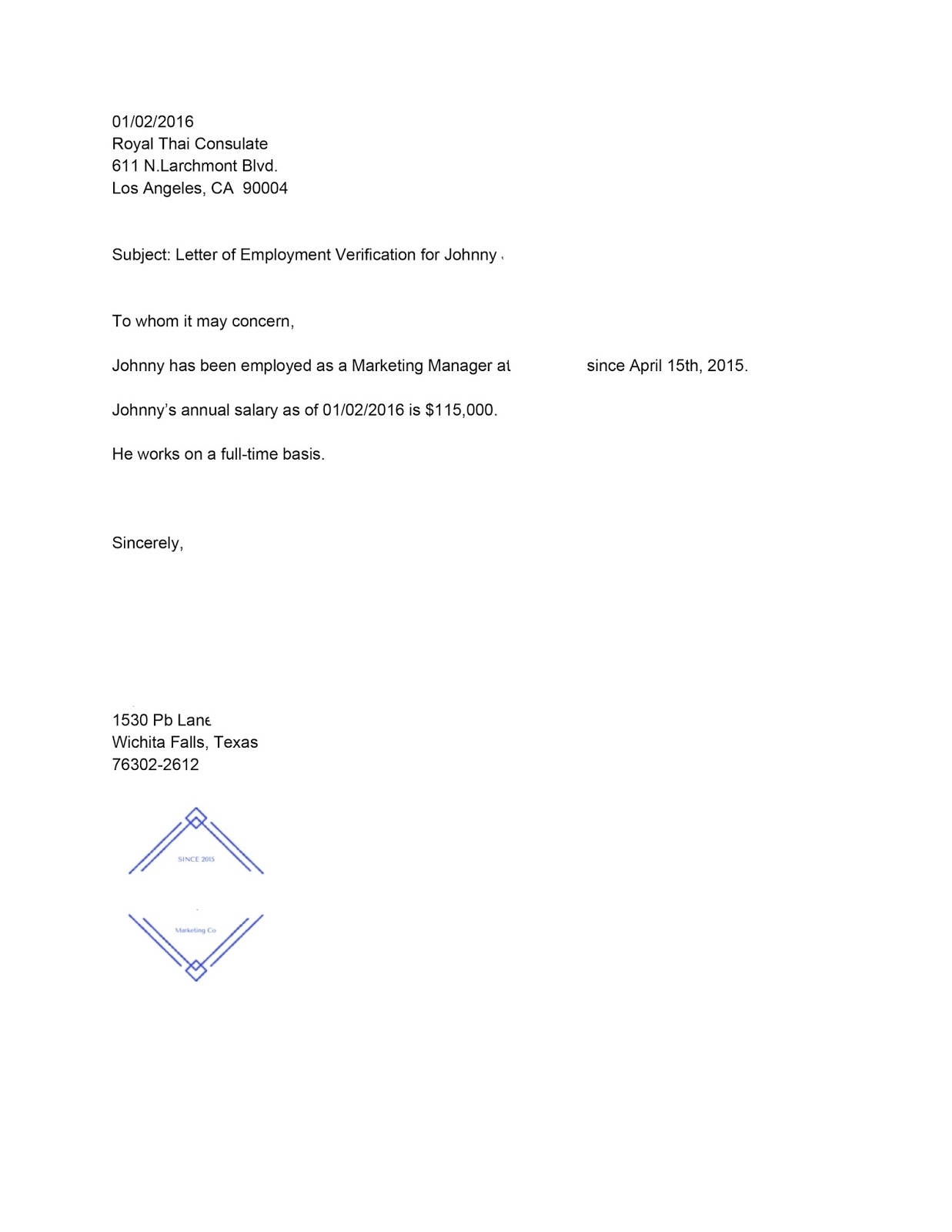9+ Employment Verification Letter For Visitor Visa | Resumete in Letter For Food Stamps Sample
