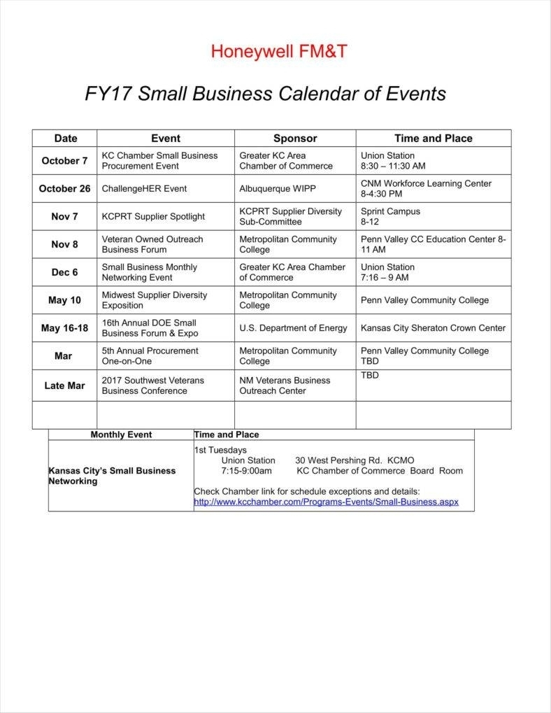 9+ Event Calendar Templates Free Samples, Examples Formats Download within Examples Of Calendar Of Events