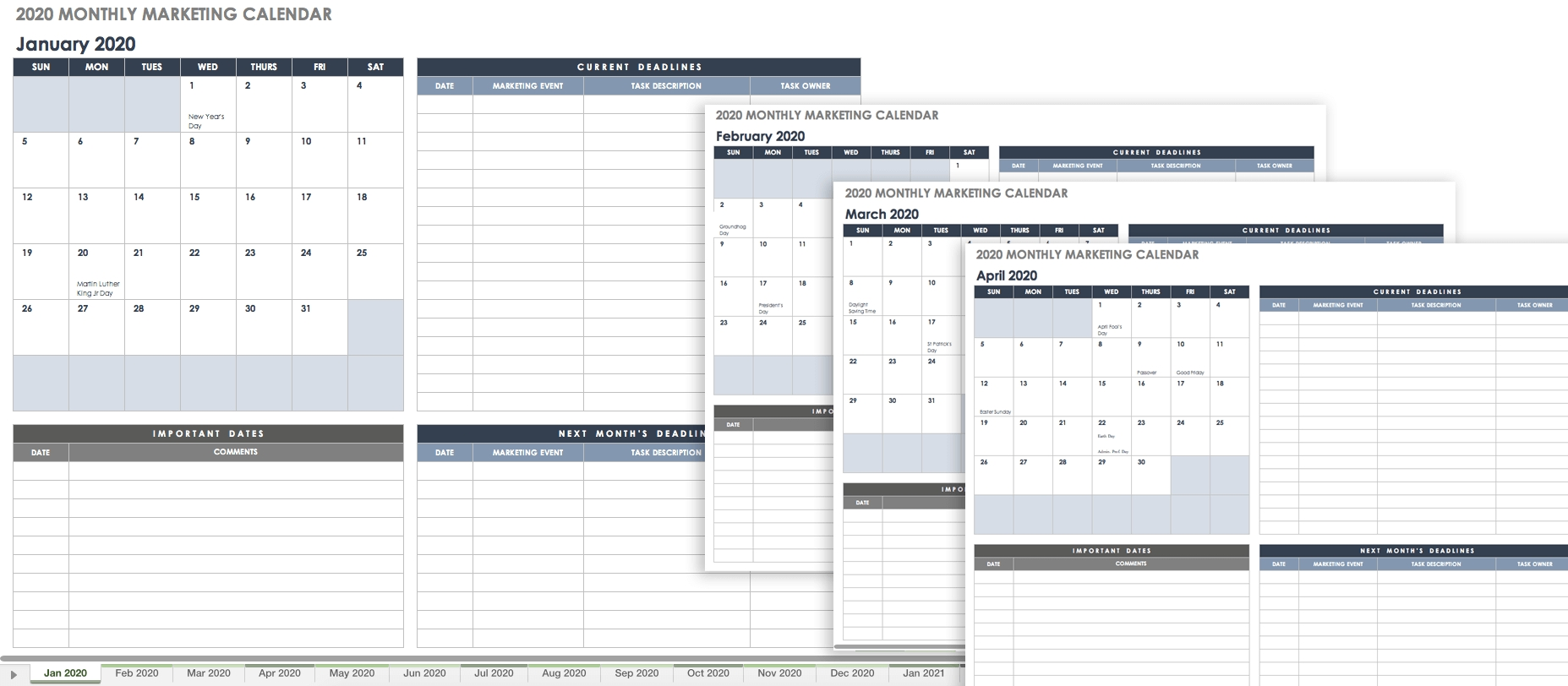 9 Free Marketing Calendar Templates For Excel - Smartsheet regarding Action Time And Calendar Templates