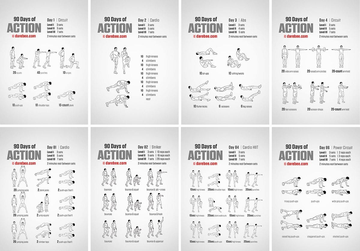 90 Days Of Action for 60 Days Challenge Template Calender