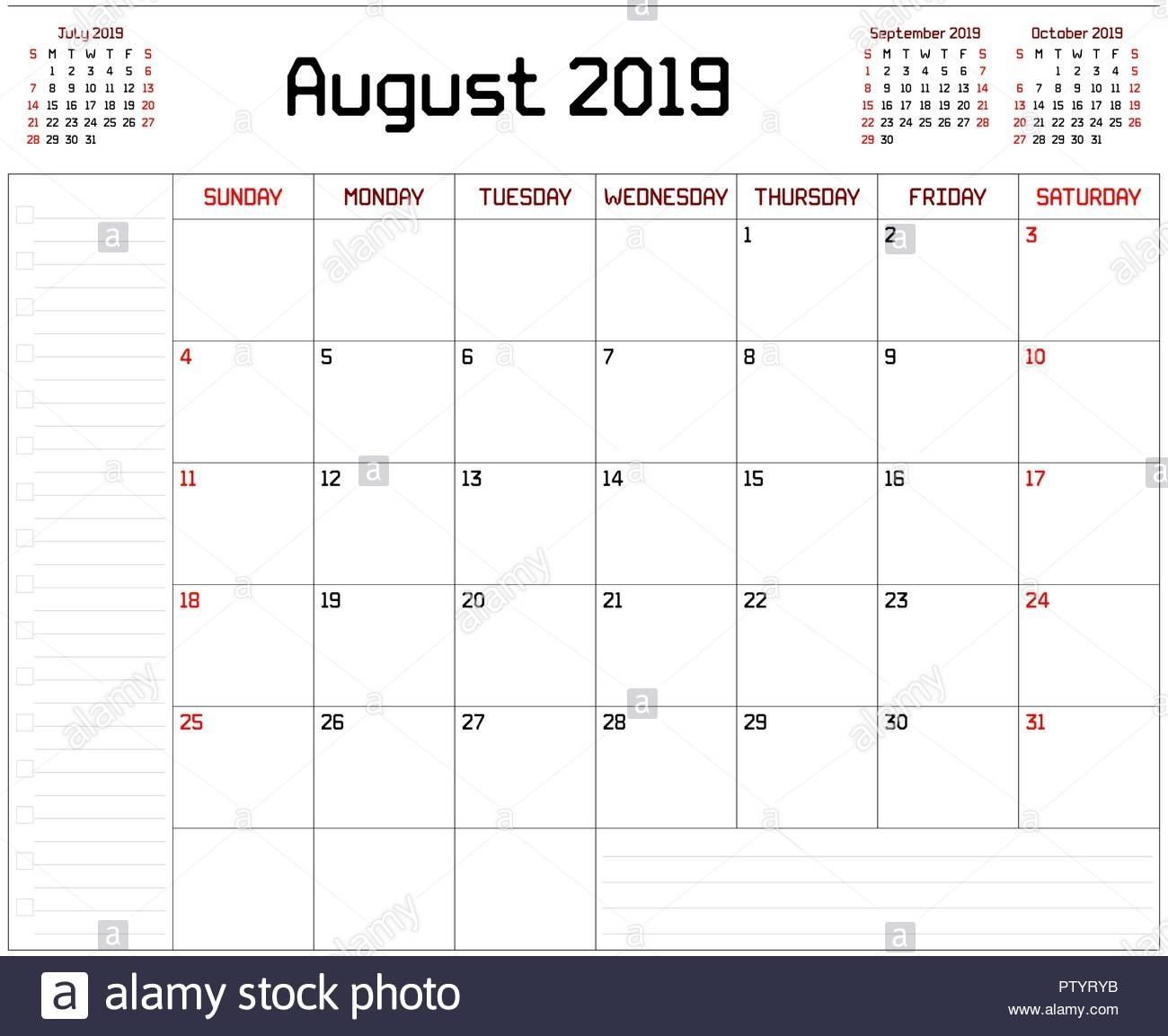 A Monthly Planner Calendar For August 2019 On White Background. A throughout Month Of August Calendar With Lines