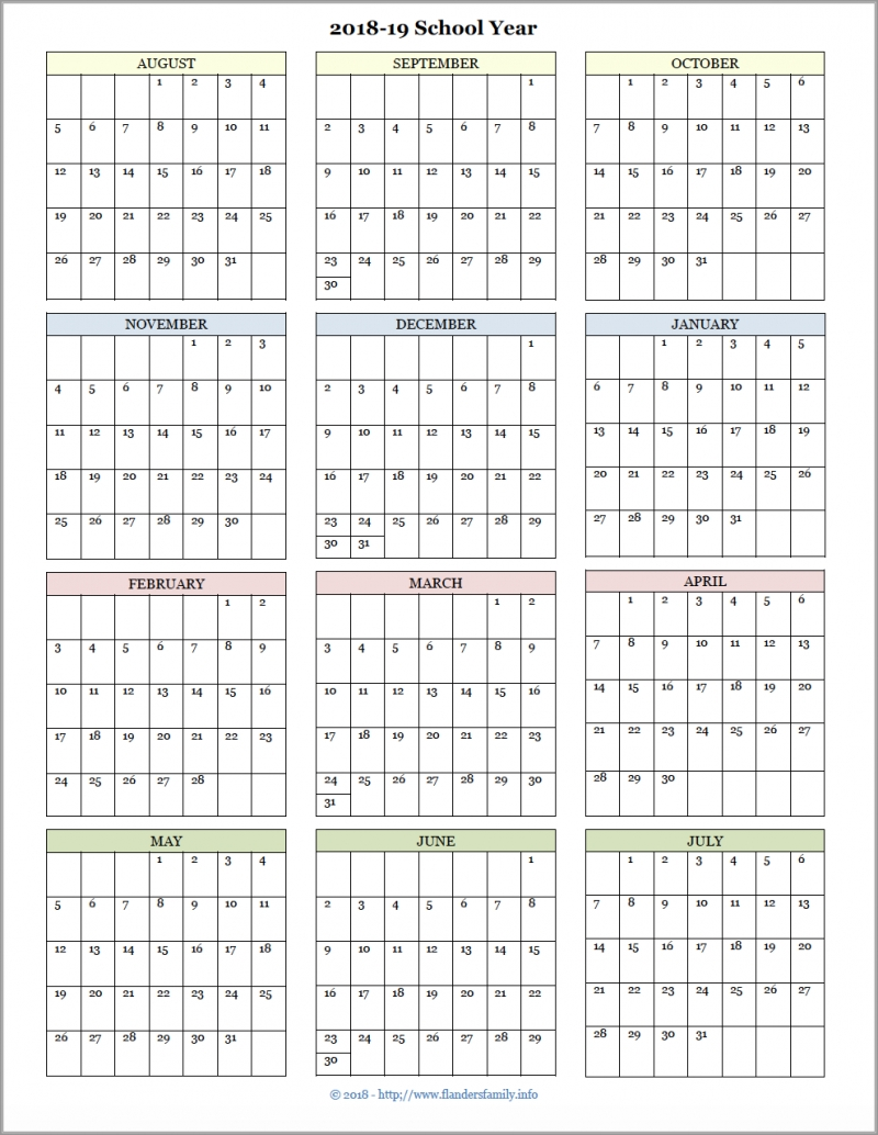 Academic Calendars For 2018-19 School Year (Free Printable pertaining to Free Printable Calendar Year At A Glance Calendar