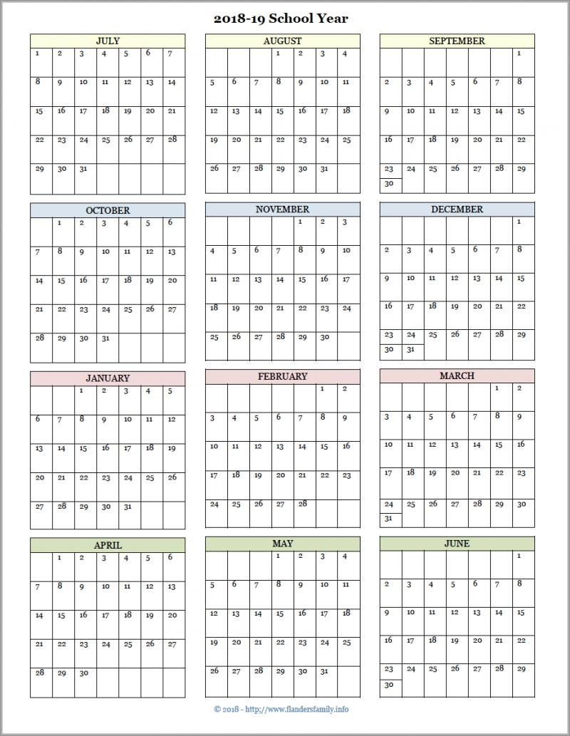 Academic Calendars For 2018-19 School Year (Free Printable) | School regarding Year At A Glance Calendar Template