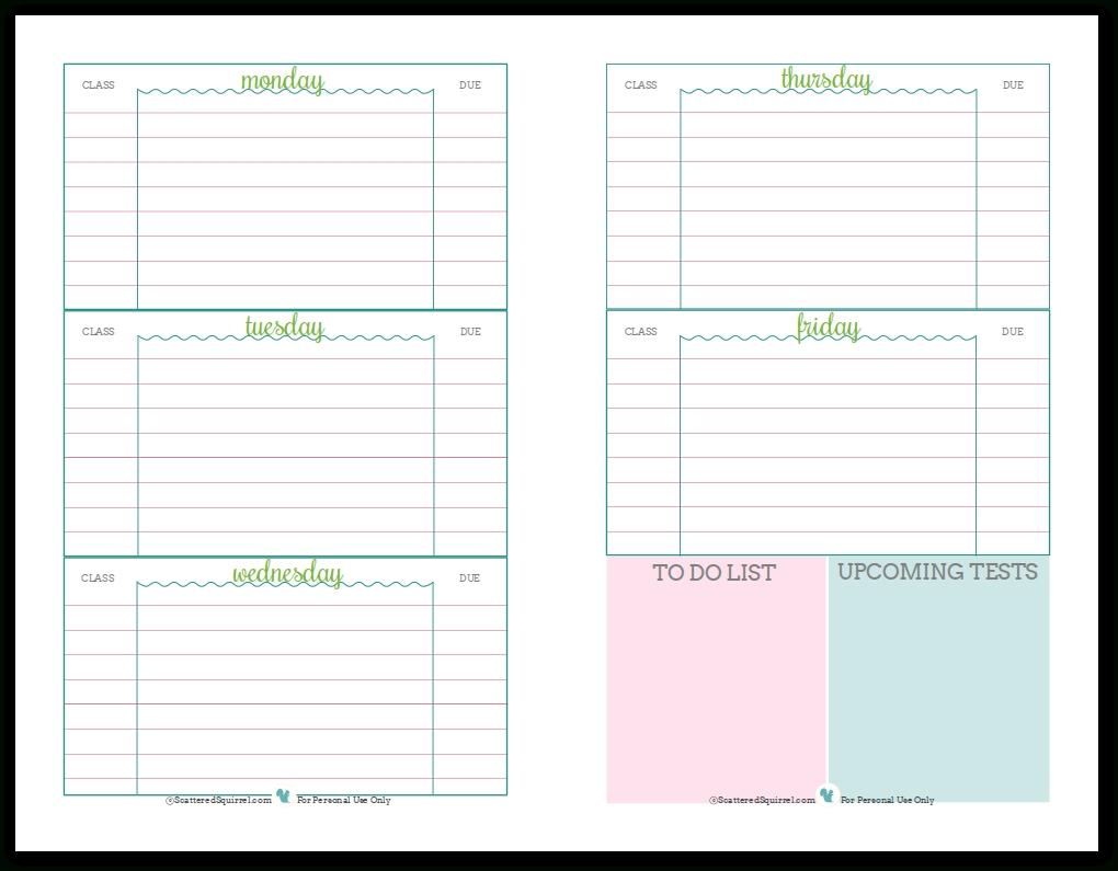 Academic Weekly Calendar - Hashtag Bg with 5X8 Calendar Planner Templates Printable