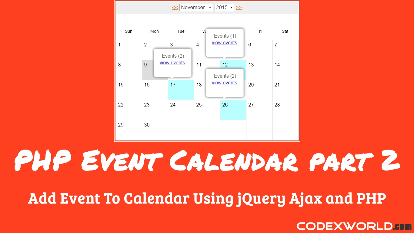 Add Event To Calendar Using Jquery, Ajax And Php   Php   Web with regard to Set Up An Event Calendar