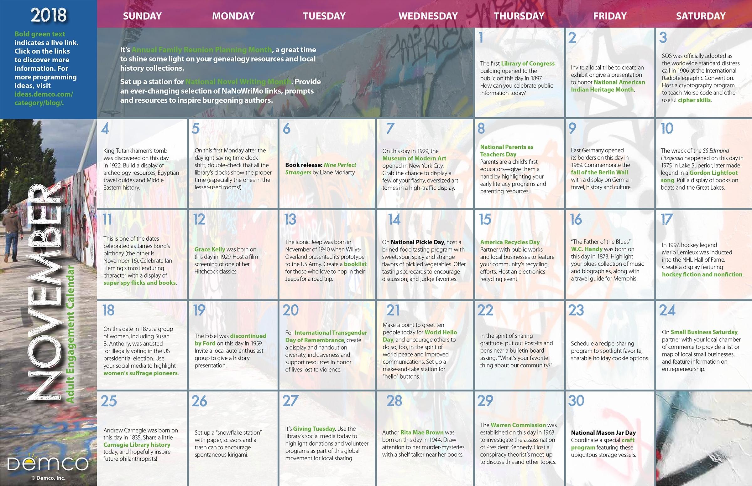 Adult Programming Ideas - November 2018 Activity Calendar pertaining to Ideas For Calendar In November