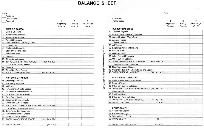 Agec-752 Developing A Balance Sheet » Osu Fact Sheets regarding Mothly Bill Payment Balance Sheet Blank