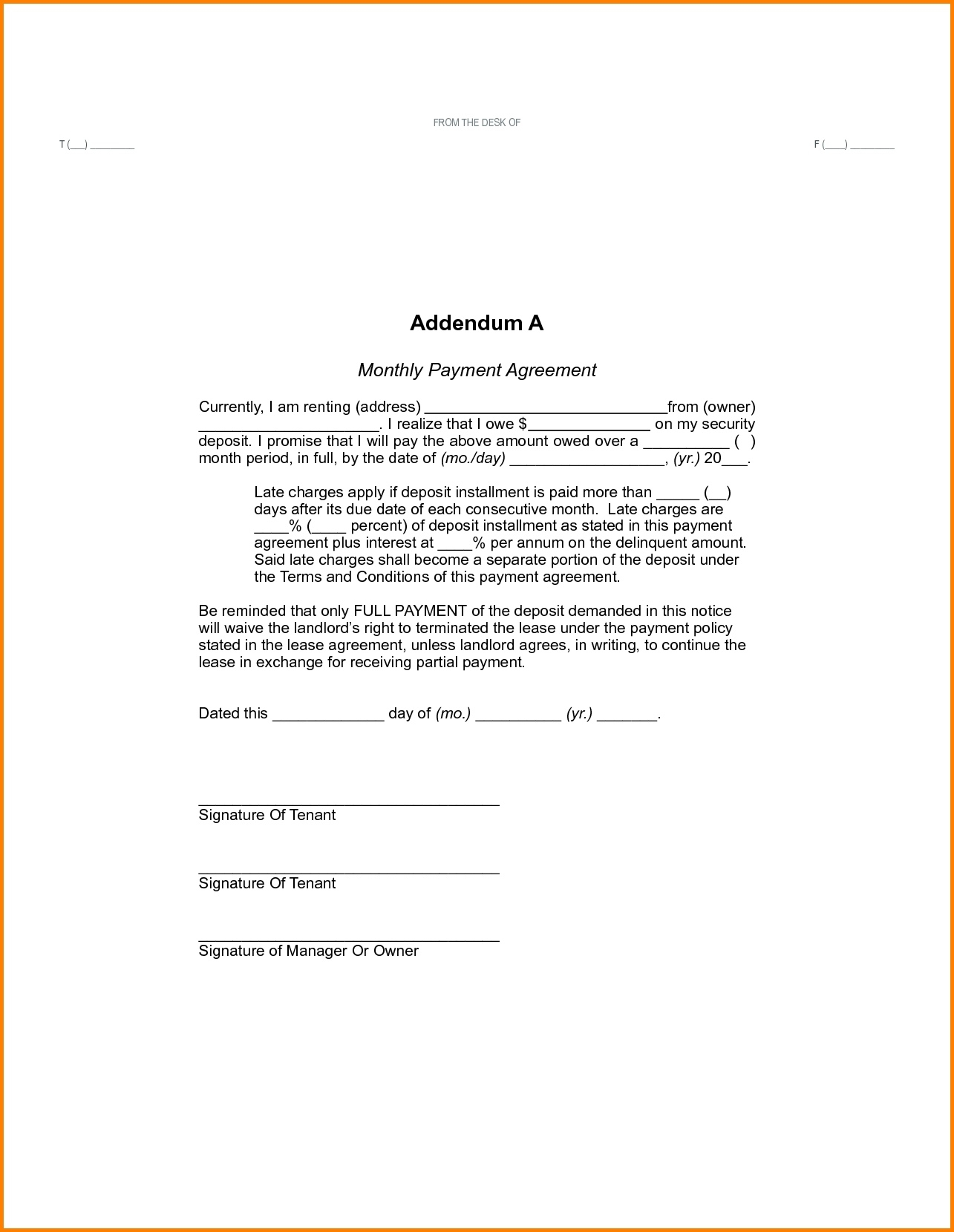 Agreement To Pay Rent Complete Monthly Payment Contract Template for Free Printable Blank Templates For Paid And Owed