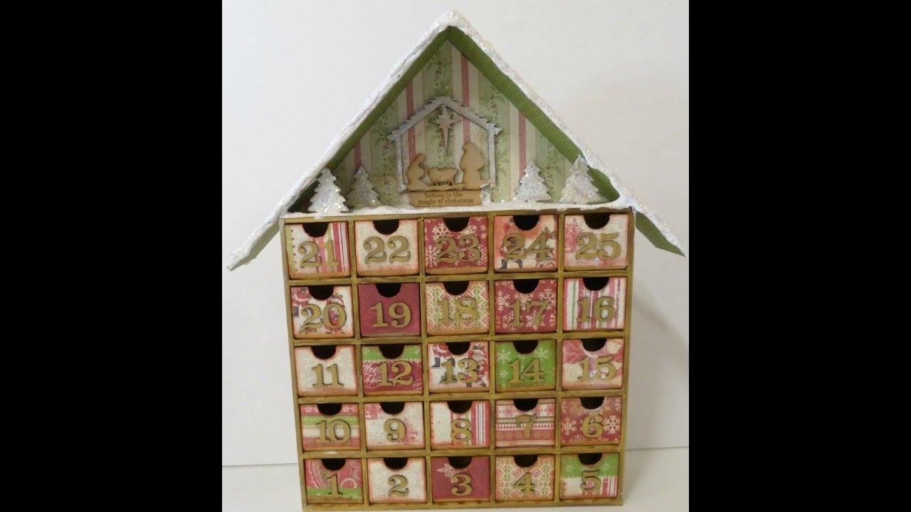 Altered Advent Calendar House Shadow Box:christmas Count Down - Youtube for Wooden Shadow Box Advent Calendar