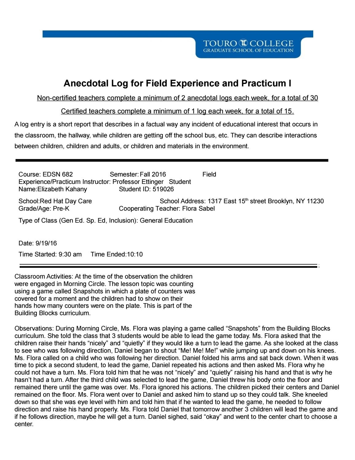Anecdotal Log 2Elizabeth Kahany - Issuu with 30 Day Log Print Out