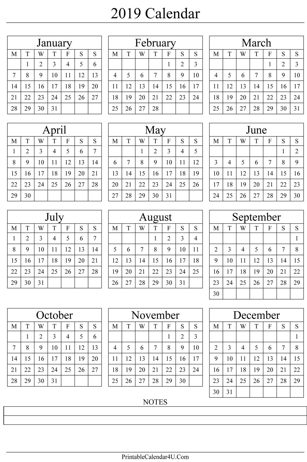 Annual Calendar 2019 Portrait Printable Calendar 2017 | Gift Ideas in One Page Annual Calendar Printable