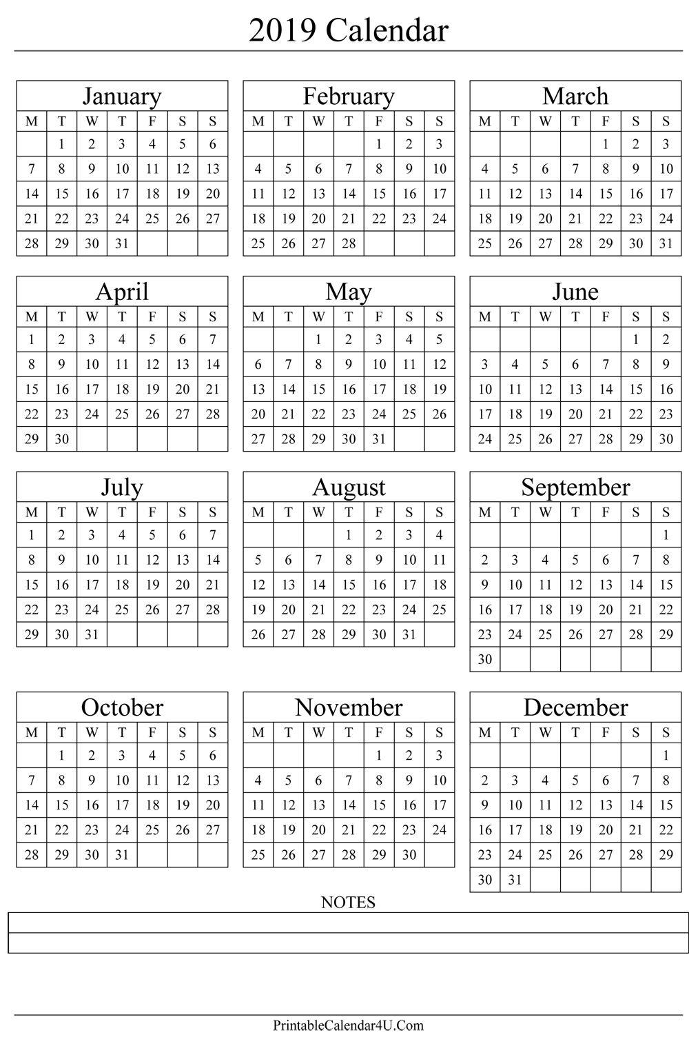 Annual Calendar 2019 Portrait Printable Calendar 2017 | Gift Ideas intended for 1 Week Vacation Calendar Printable