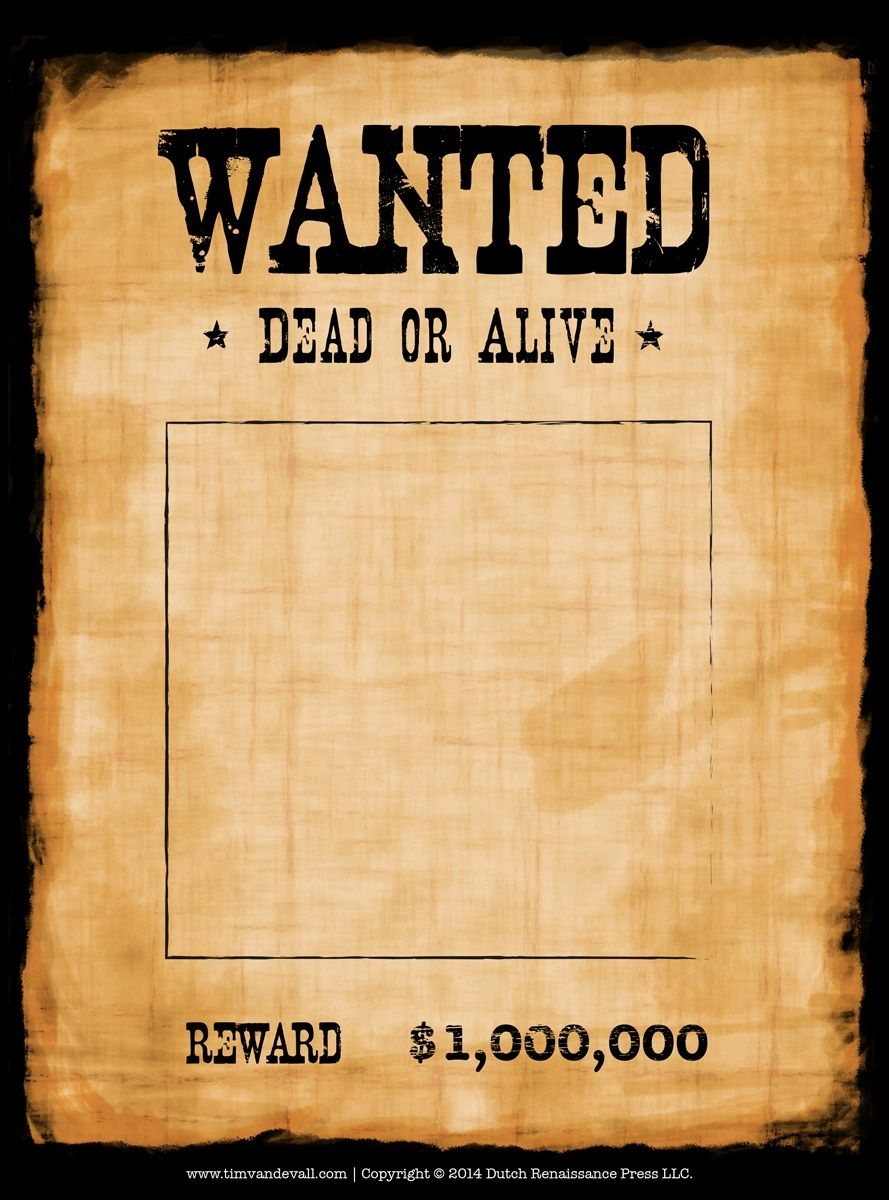Another High Caliber Wanted Poster Template. Reprinted In Shades Of intended for Free Printable Wanted Poster Template