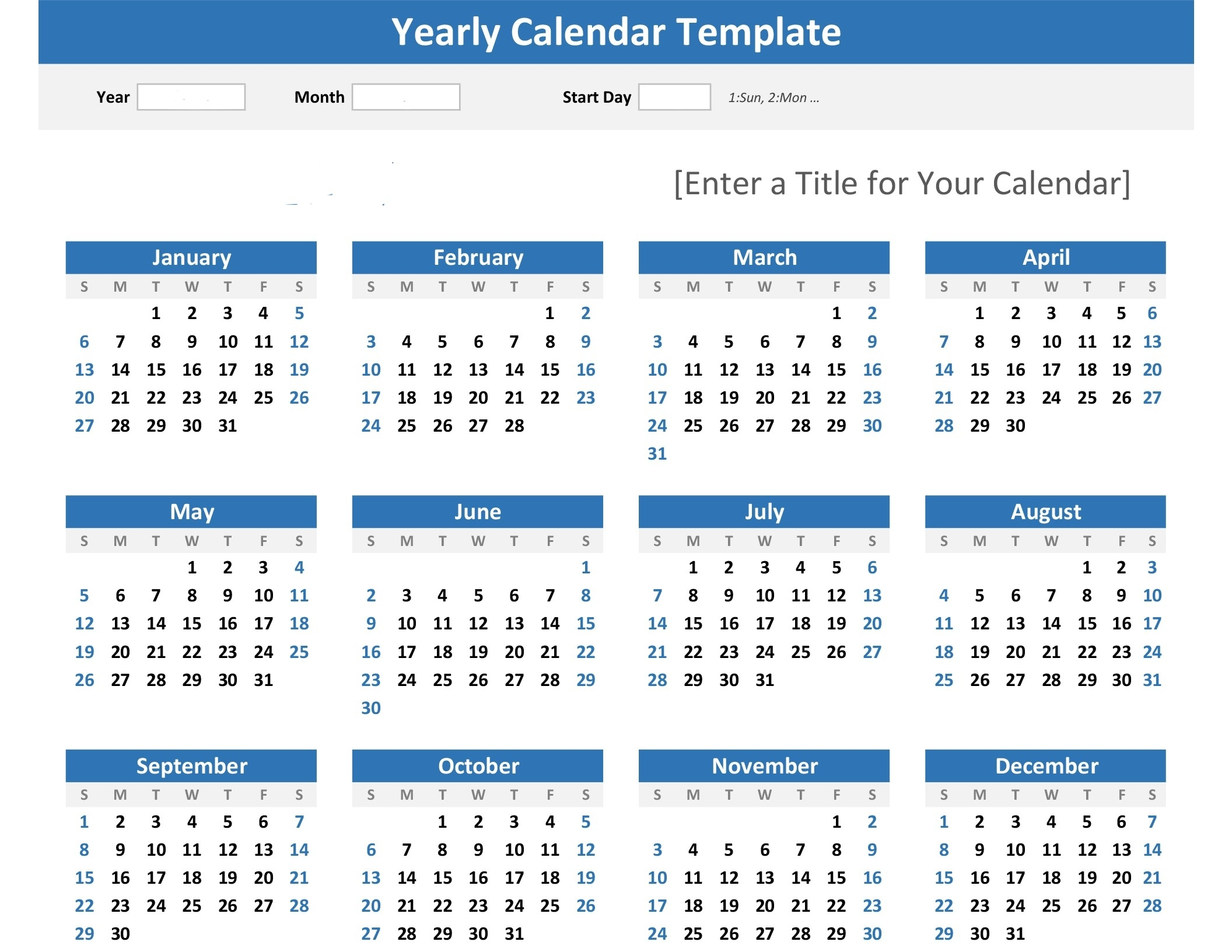 Any Year At A Glance Calendar (Landscape) throughout Year In A Glance Calendar