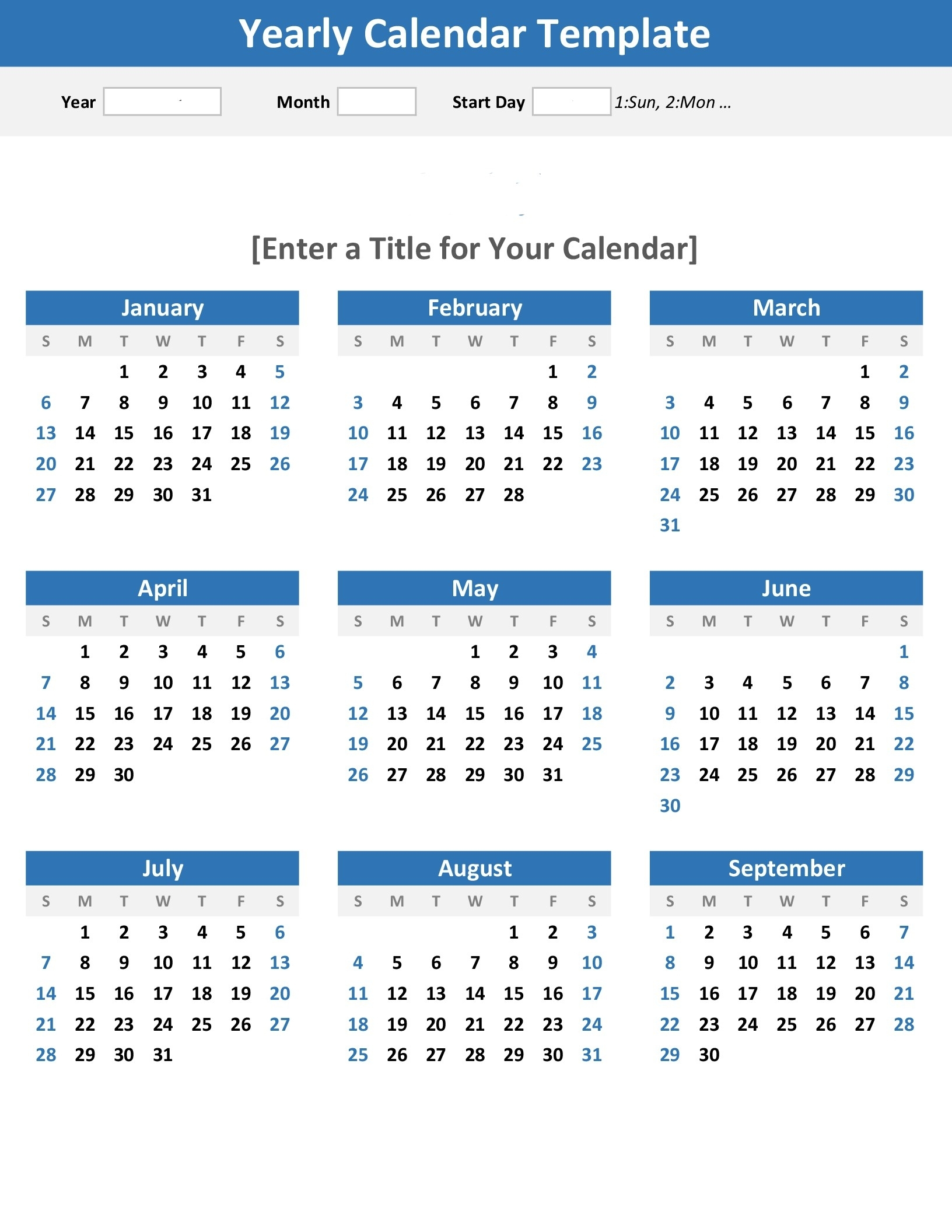 Any Year At A Glance Calendar (Portrait) for Year Calendar At A Glance