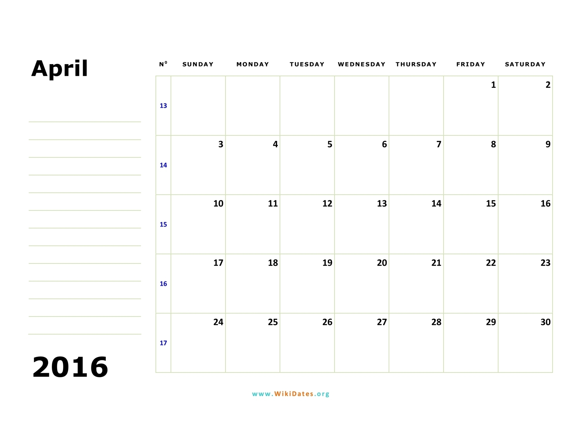 April 2016 Calendar | Wikidates with Calendar By Month Monday To Friday