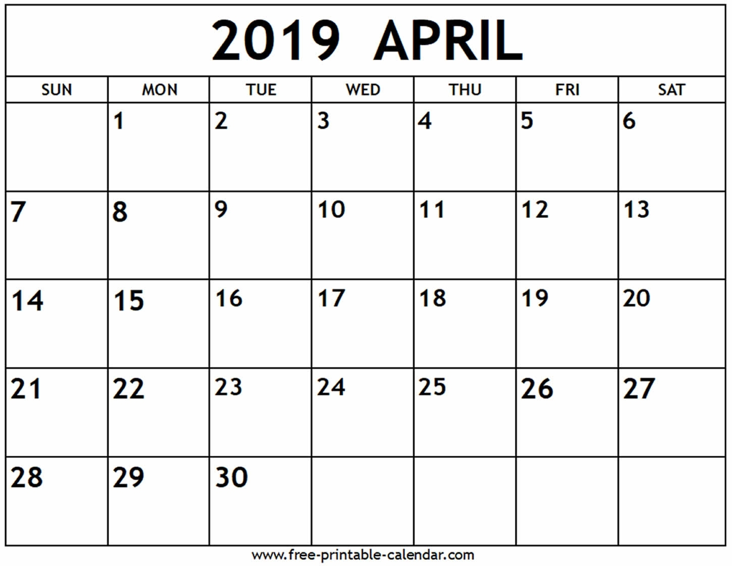 April 2019 Calendar - Free-Printable-Calendar pertaining to Free Calendars To Print Without Downloading