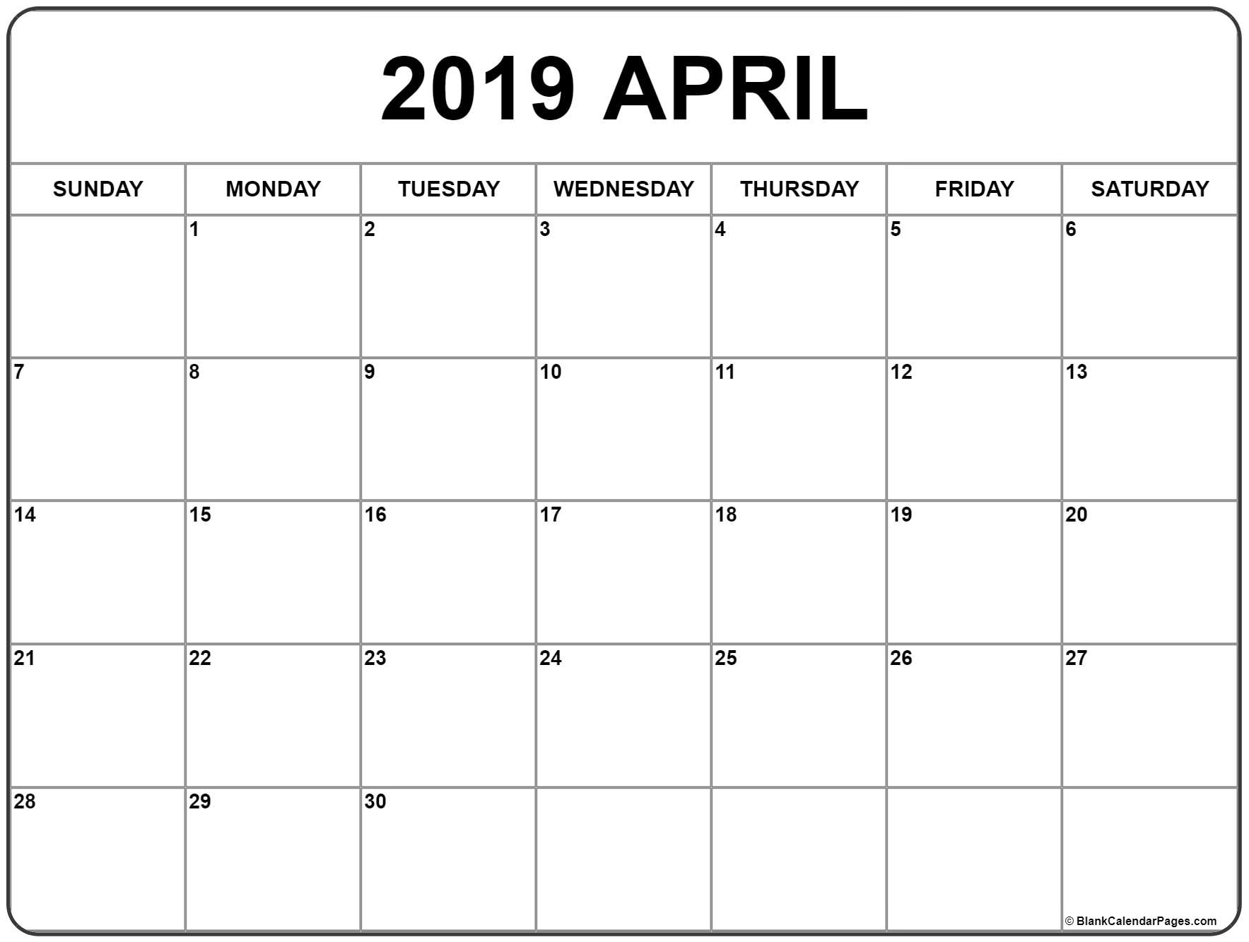 April 2019 Calendar | Free Printable Monthly Calendars within Free Printable September Blank Calendars With Christian Themes