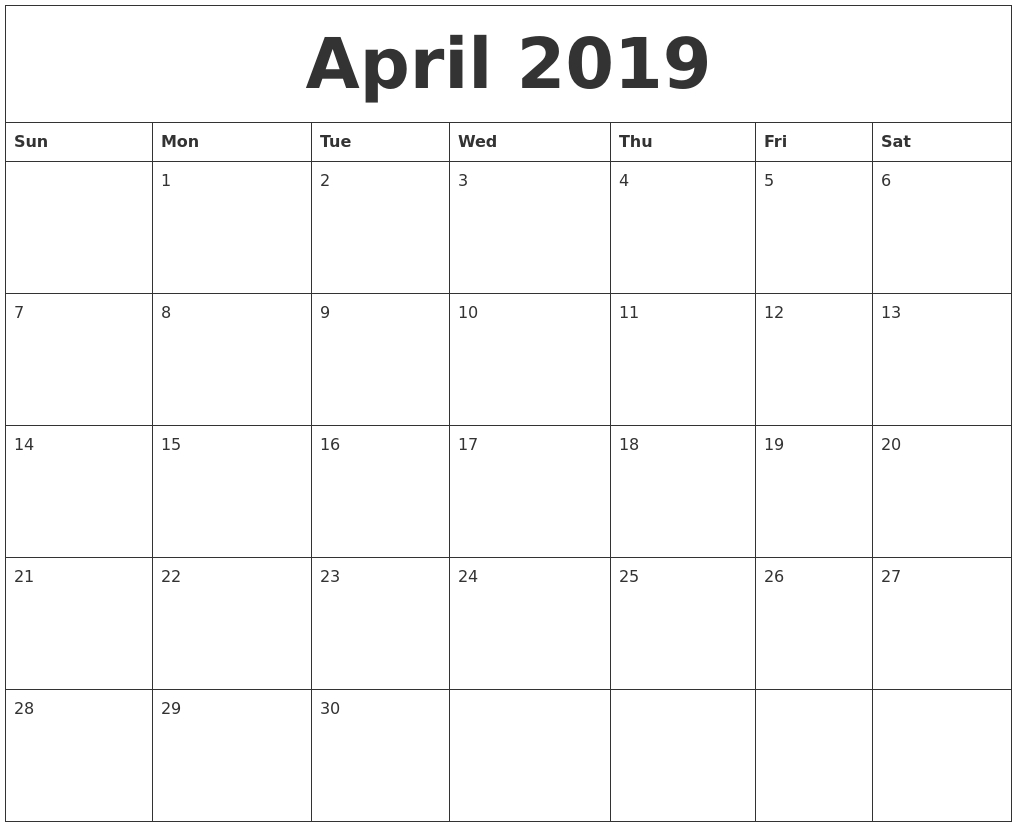 April 2019 Free Monthly Calendar Template within Free Blank Printable Monthly Calendar