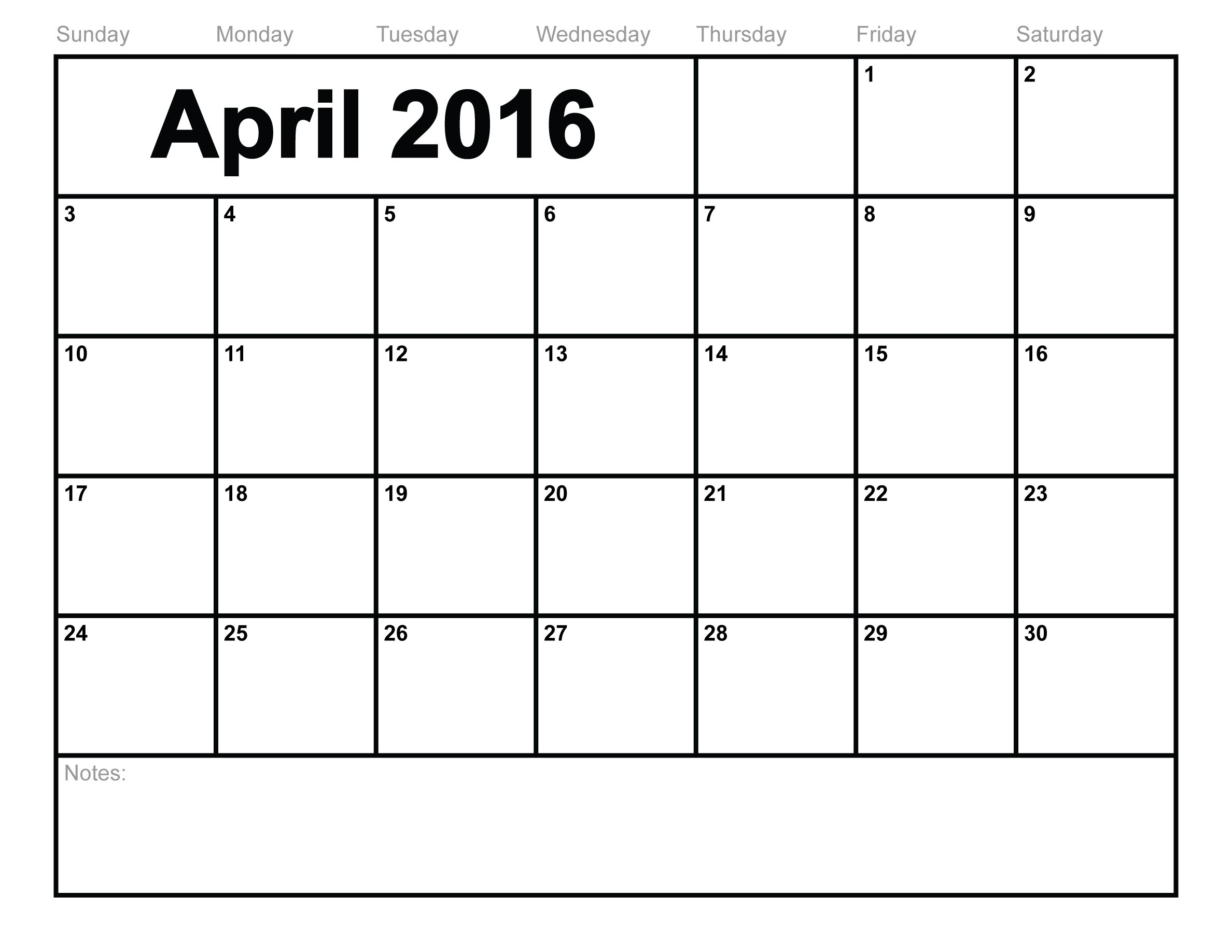 April Calendar 2016 Printable - Printable Calendar & Birthday Cards intended for Print Monthly Calendar With Lines