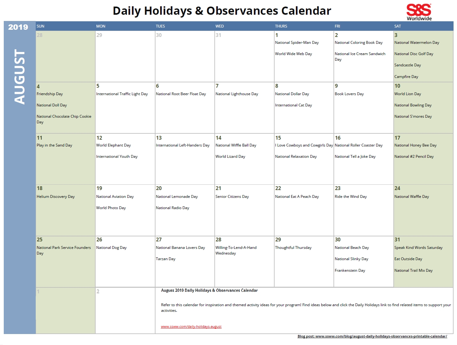 April Daily Holidays & Observances Printable Calendar - S&s Blog throughout Printable Calendar Day By Day