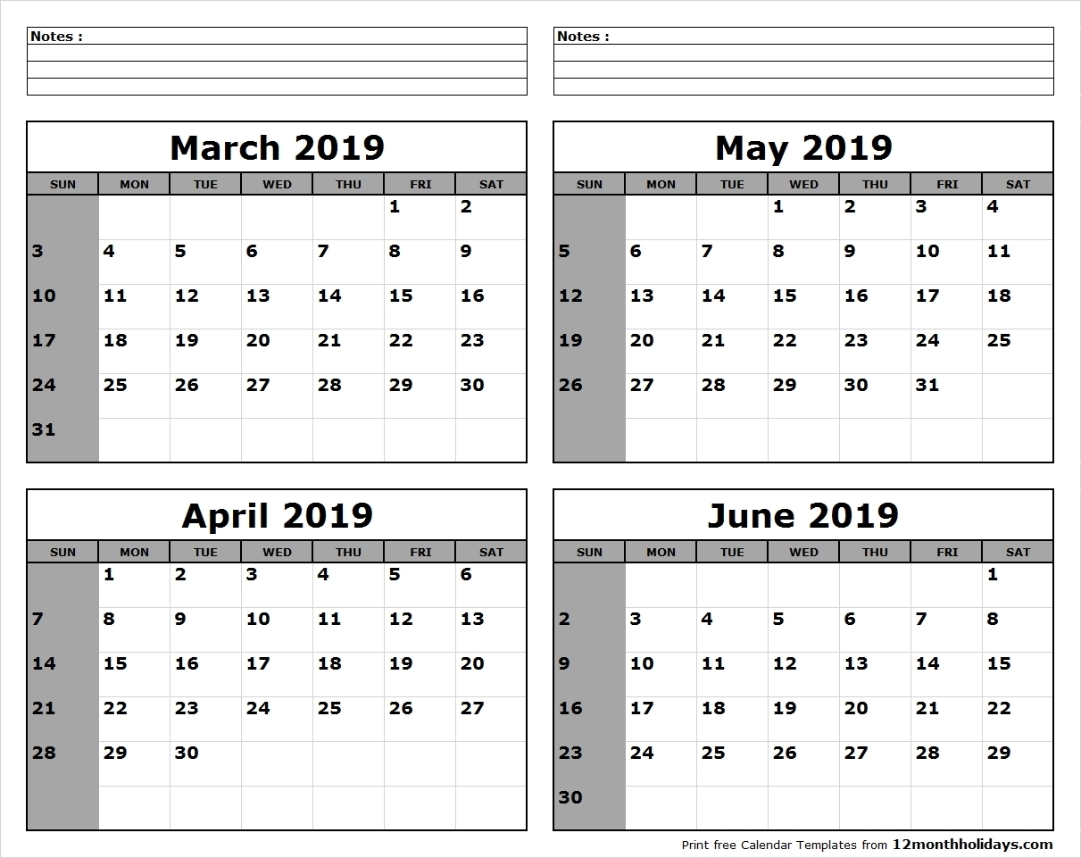 April May June 2019 Calendar Printable Template Pdf, Word, Excel for Monthly Planner Calender May 3 Months