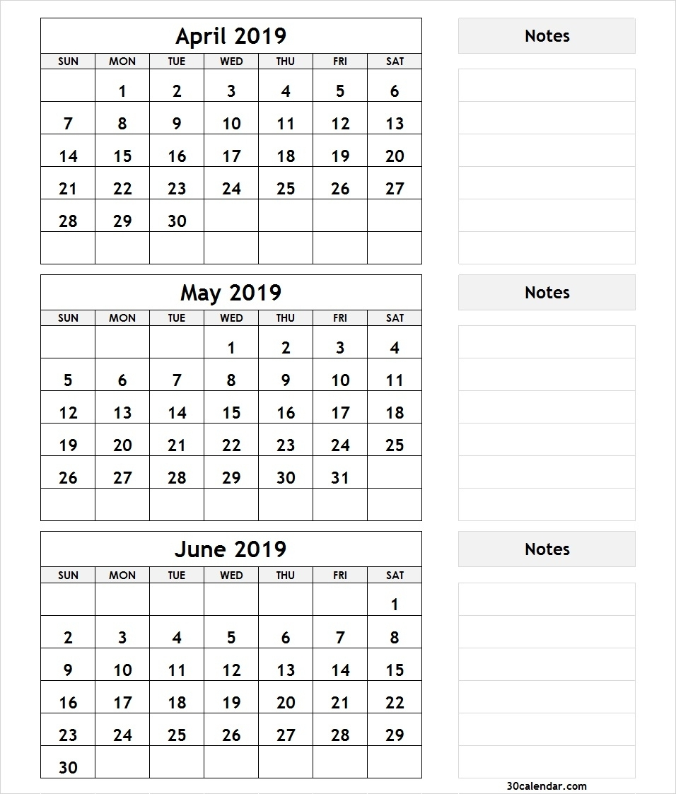 April May June 2019 Calendar Printable Template Pdf, Word, Excel pertaining to Calender For Last 3 Months