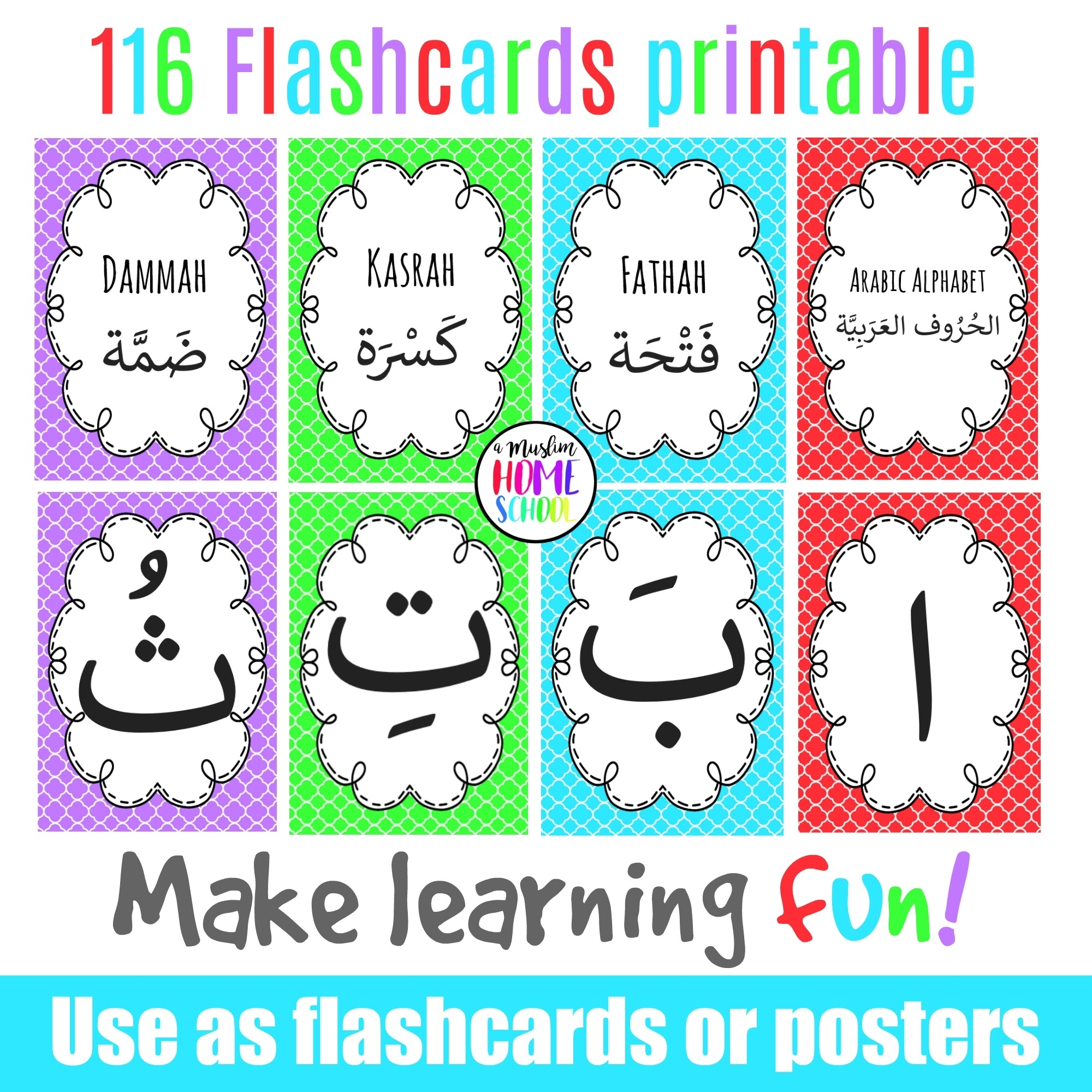 Arabic Alphabet Poster Flashcards - Makkah Centric Education intended for Arabic Printable Days Of The Week