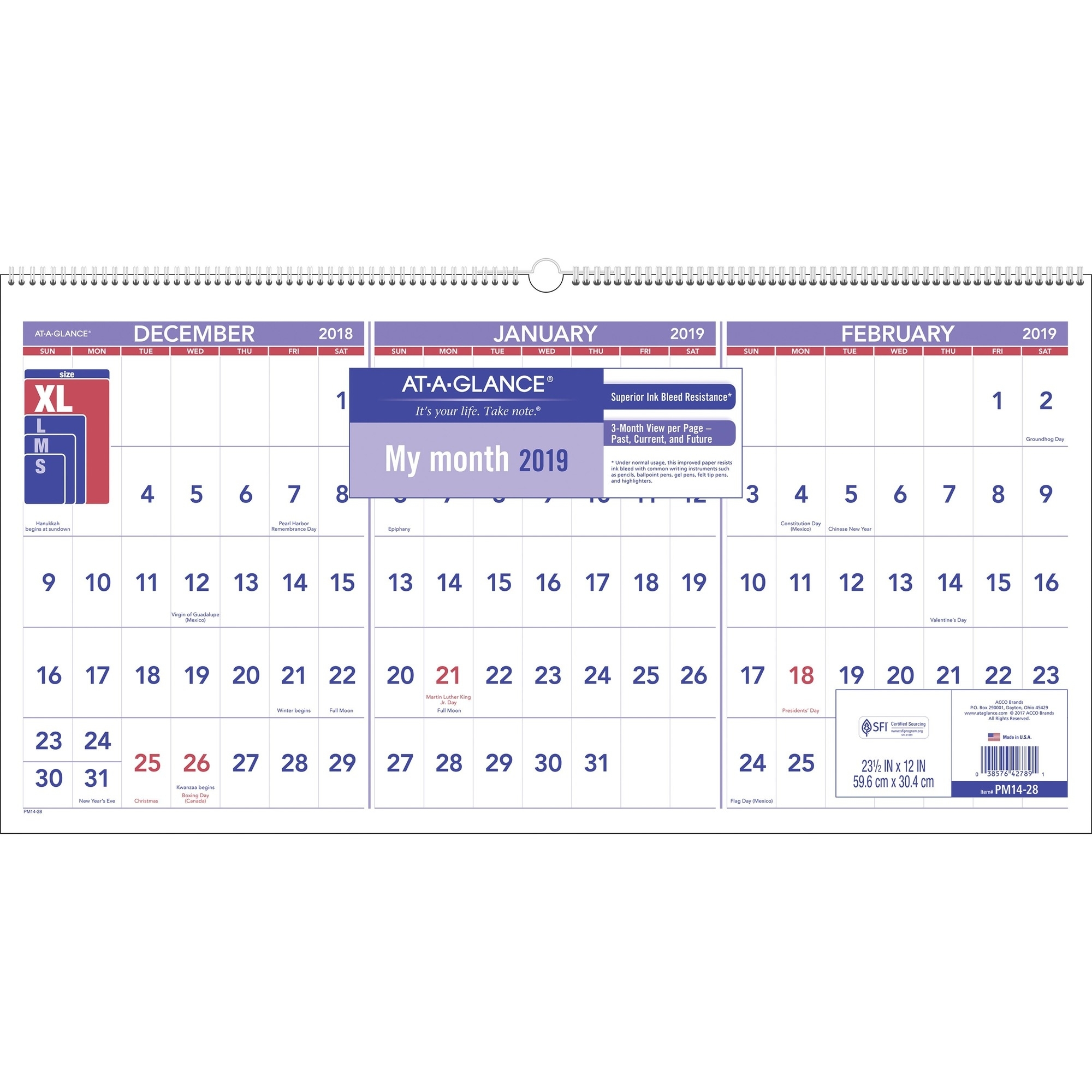 At-A-Glance 3-Month Horizontal Wall Calendar - Yes - Quarterly - 1.2 regarding Calender For Last 3 Months