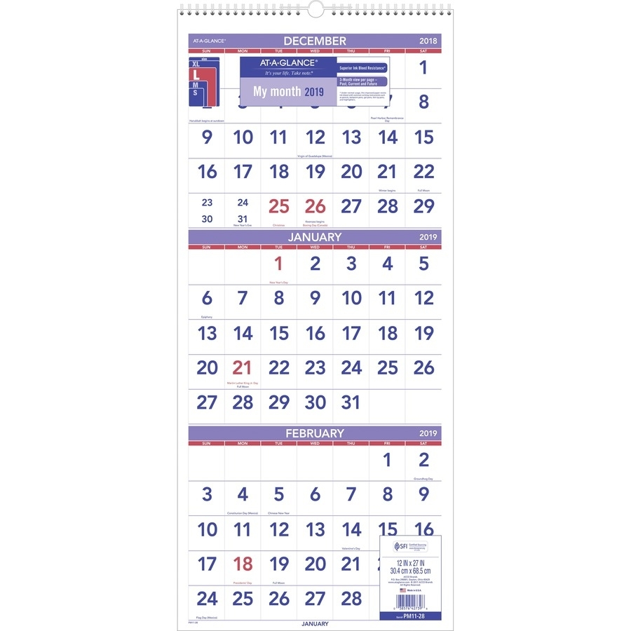 At-A-Glance 3 Month Reference Wall Calendar - Monthly - 1.2 Year pertaining to Three Month Single Page Calendar