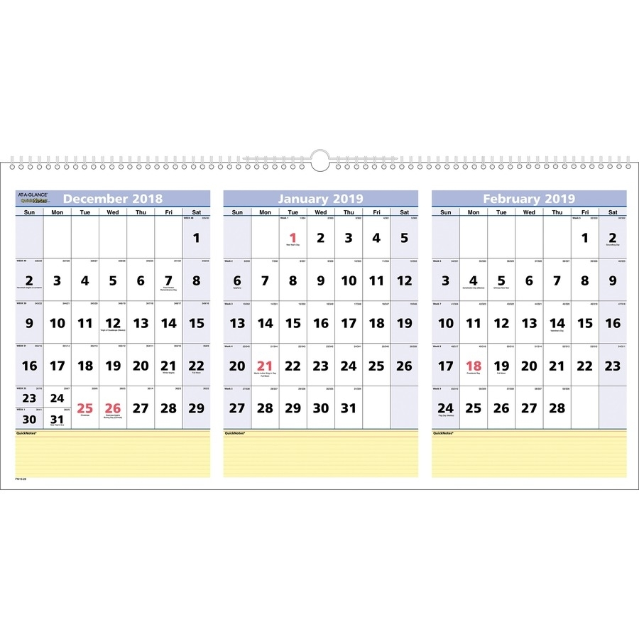 At-A-Glance Quicknotes 3-Month Horizontal Wall Calendar - Yes inside Three Month Single Page Calendar