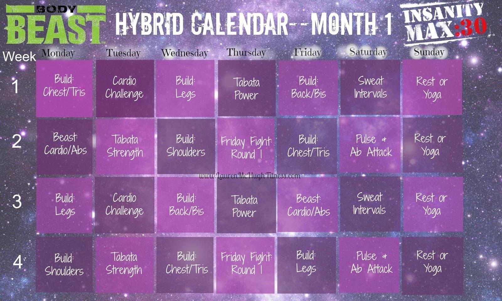 August 2015 | Lauren Mchugh regarding Insanity Max 30/piyo Hybrid Calendar
