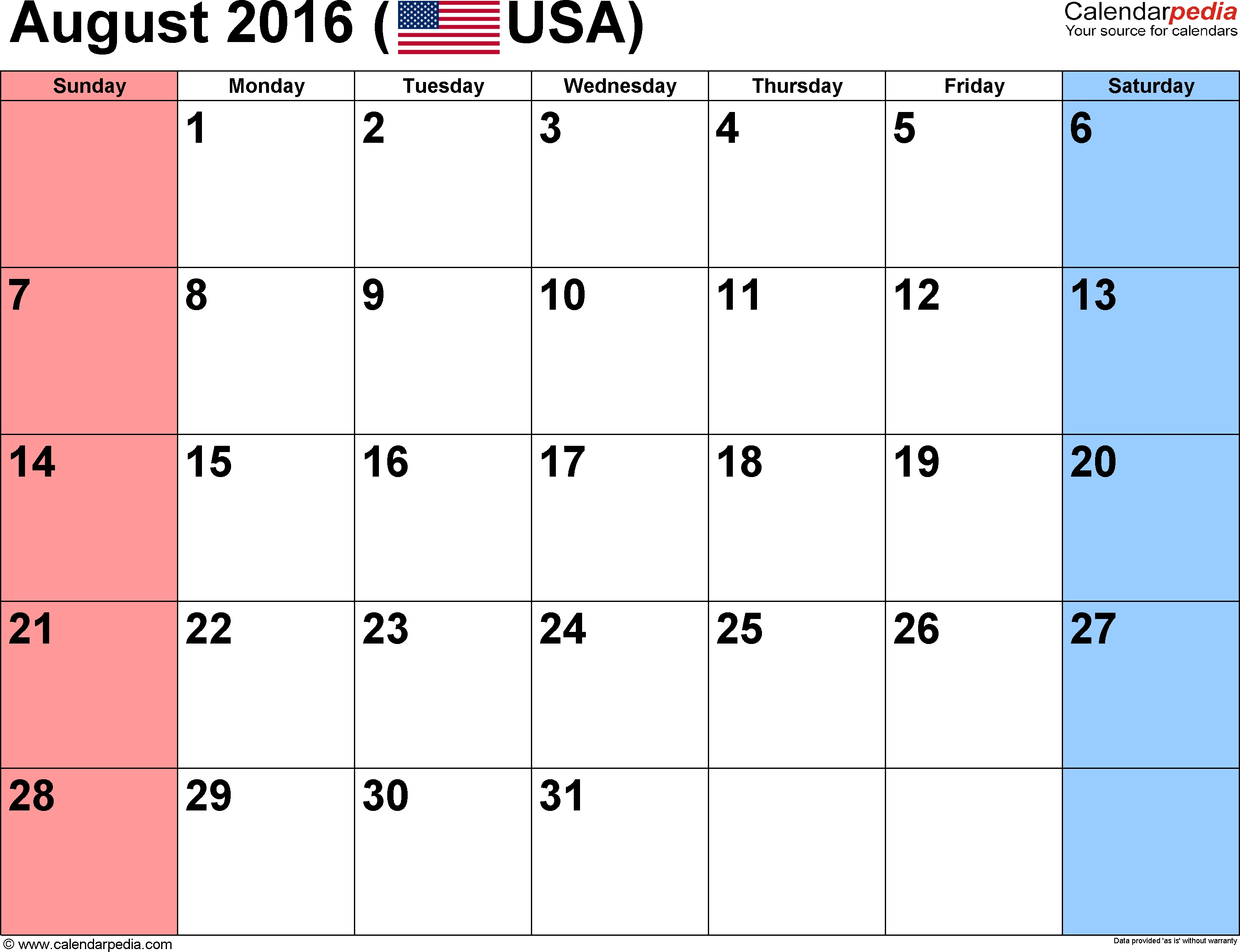 August 2016 Calendars For Word, Excel & Pdf for Small Calender For July And Agust