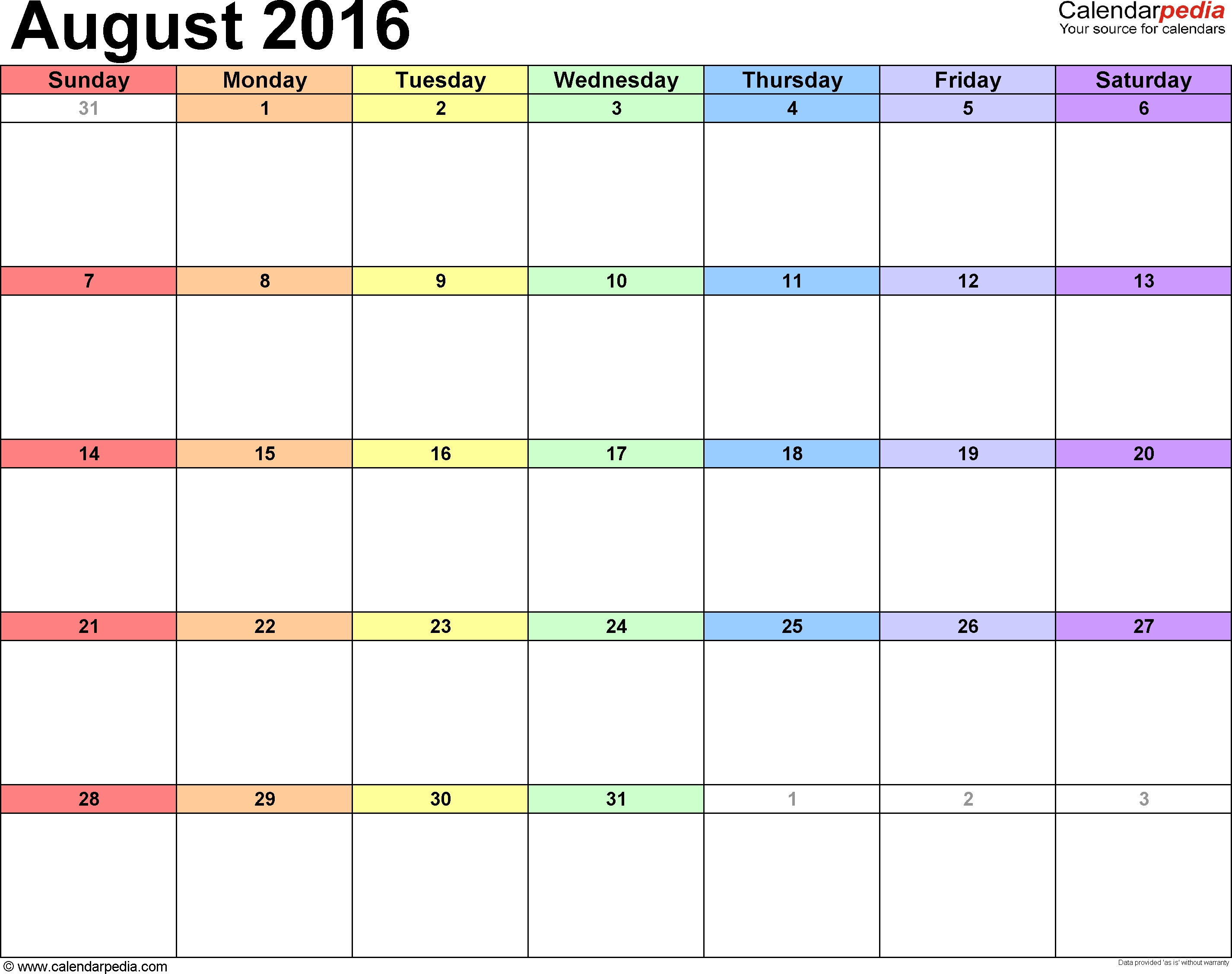 August 2016 Calendars For Word, Excel & Pdf regarding Month Of August On A Calendar