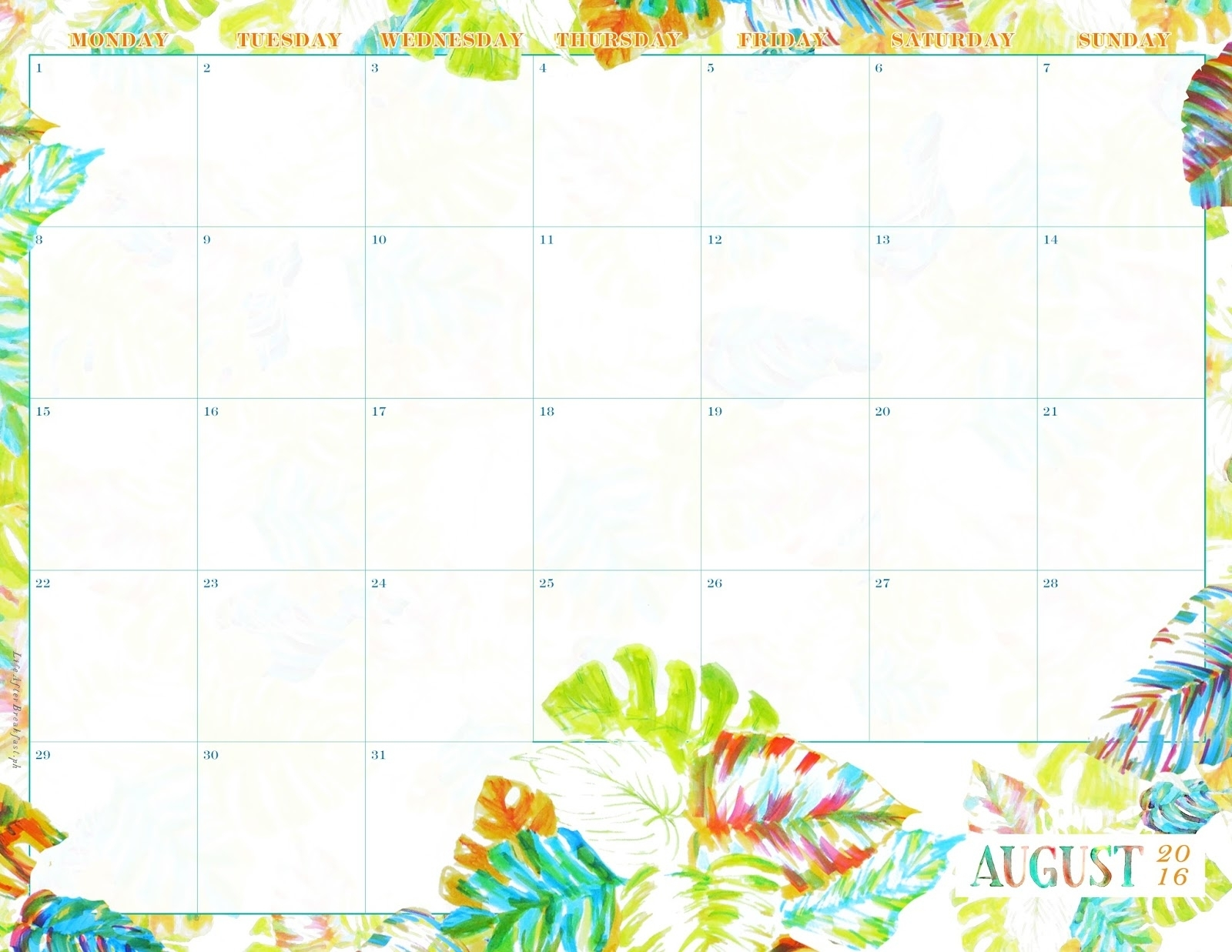 August 2016 Printable Calendar - Life After Breakfast regarding August Keeping Life Sane Printable Schedule
