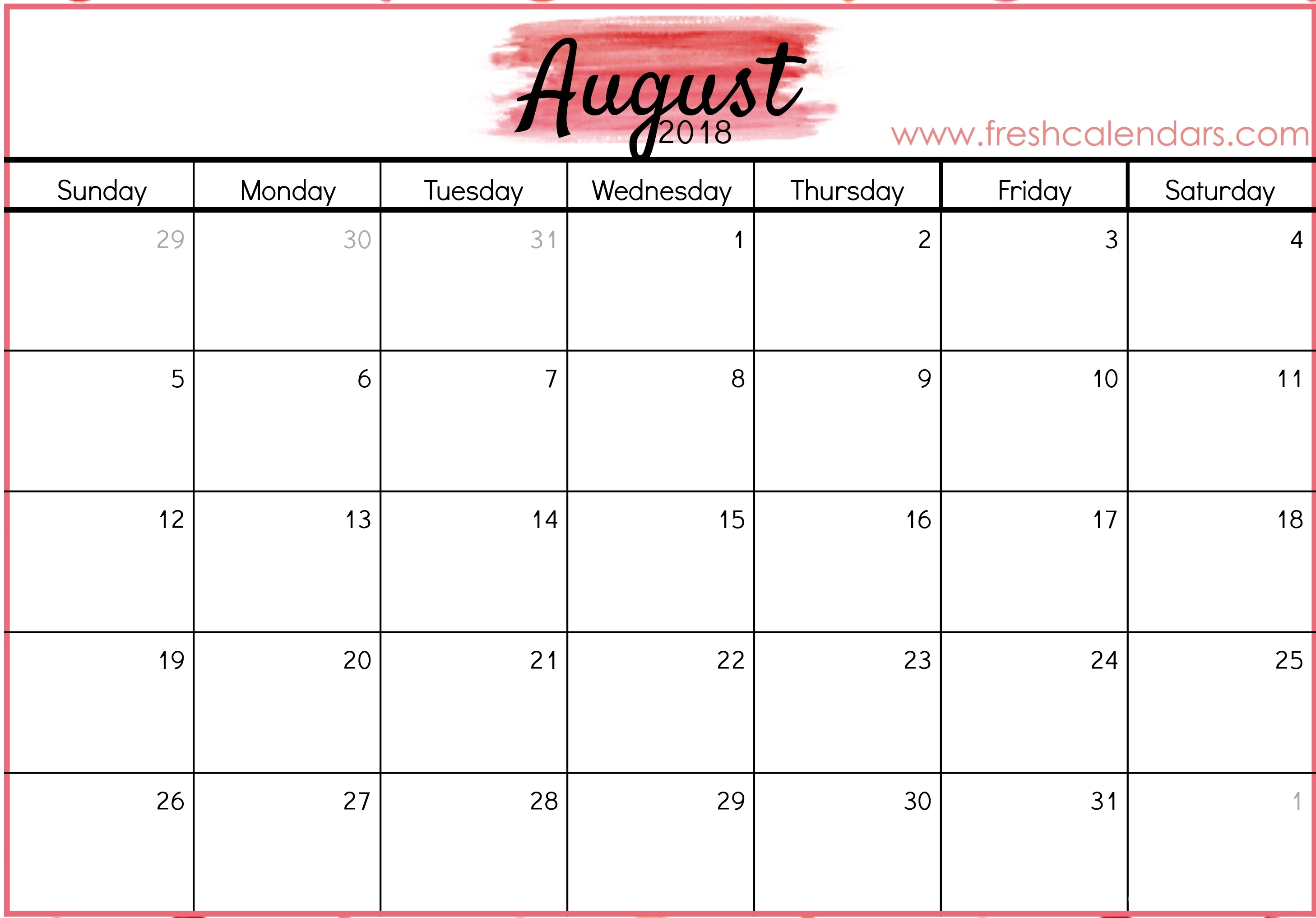August 2018 Calendar Printable - Fresh Calendars for Picture Of August On Calendar