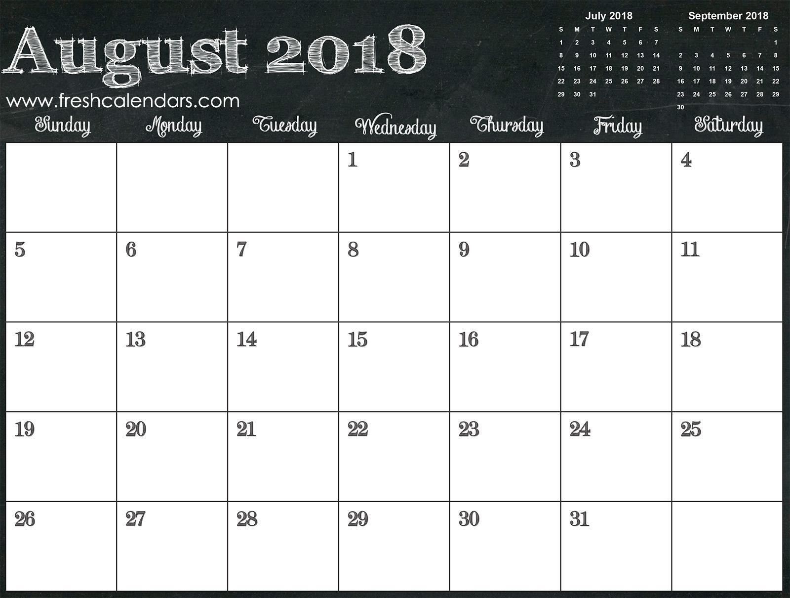 August 2018 Calendar Printable - Fresh Calendars inside Numbers Free Printable Calendar For August