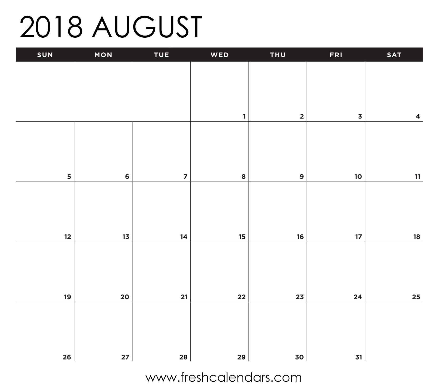 August 2018 Calendar Printable - Fresh Calendars with Month Of August Calendar With Lines