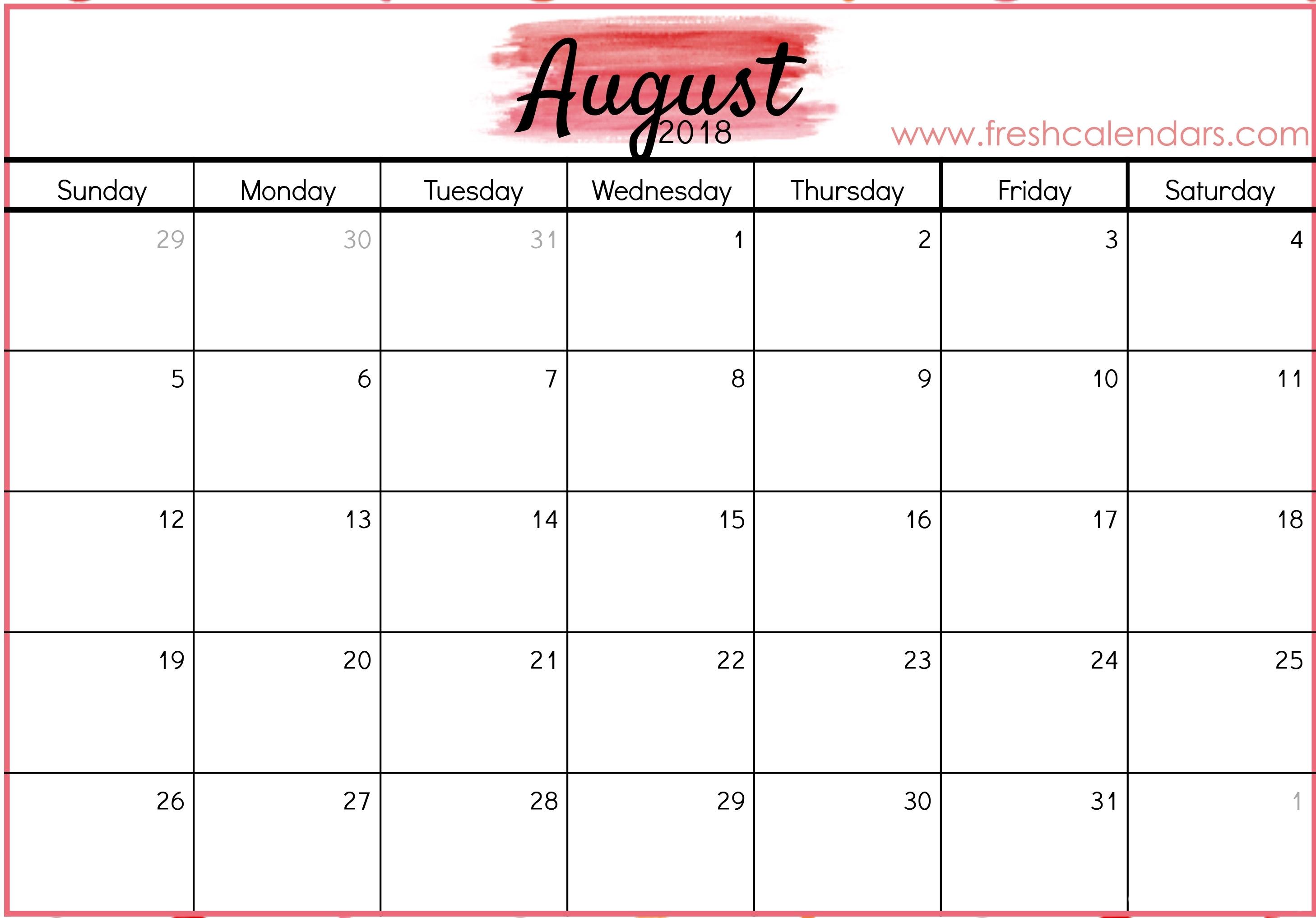 August 2018 Calendar Printable - Fresh Calendars with regard to August Printable Calendar By Month