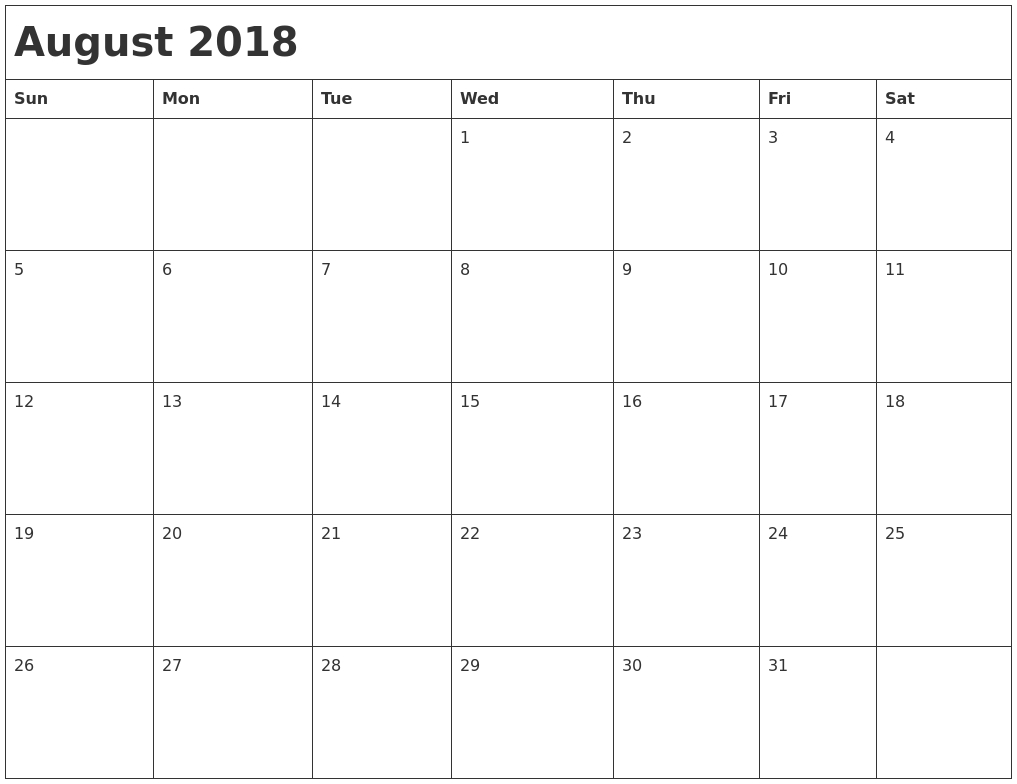 August 2018 Calendar Printable - Printable Calendar & Birthday Cards within Month Of August On A Calendar