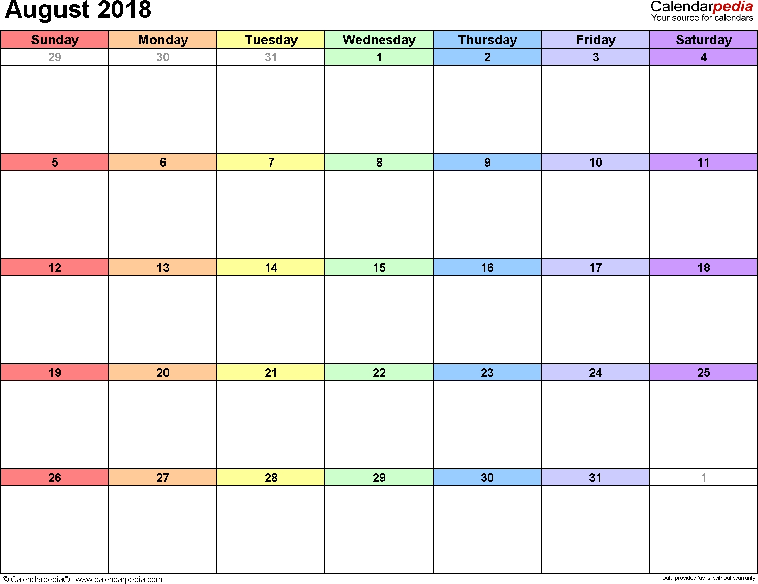 August 2018 Calendars For Word, Excel & Pdf throughout August Printable Images To Color