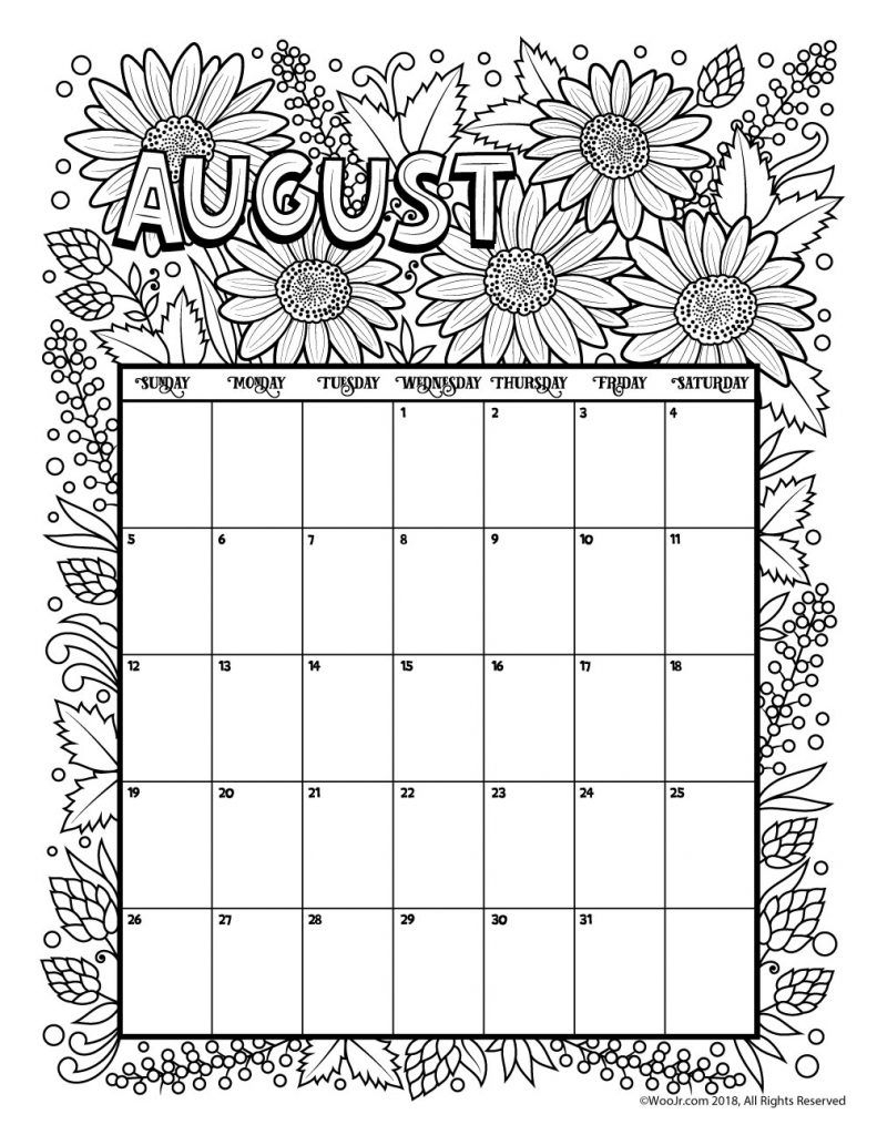 August 2018 Coloring Calendar Page | Coloring Pages | May Calendar inside August Printable Images To Color