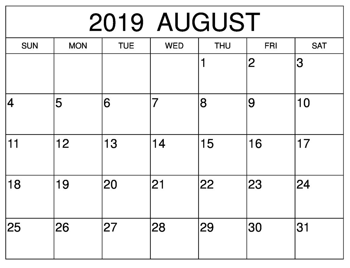 August 2019 Blank Calendar For Monthly And Weekly Desk Template within Months Of The Year With 31 Days