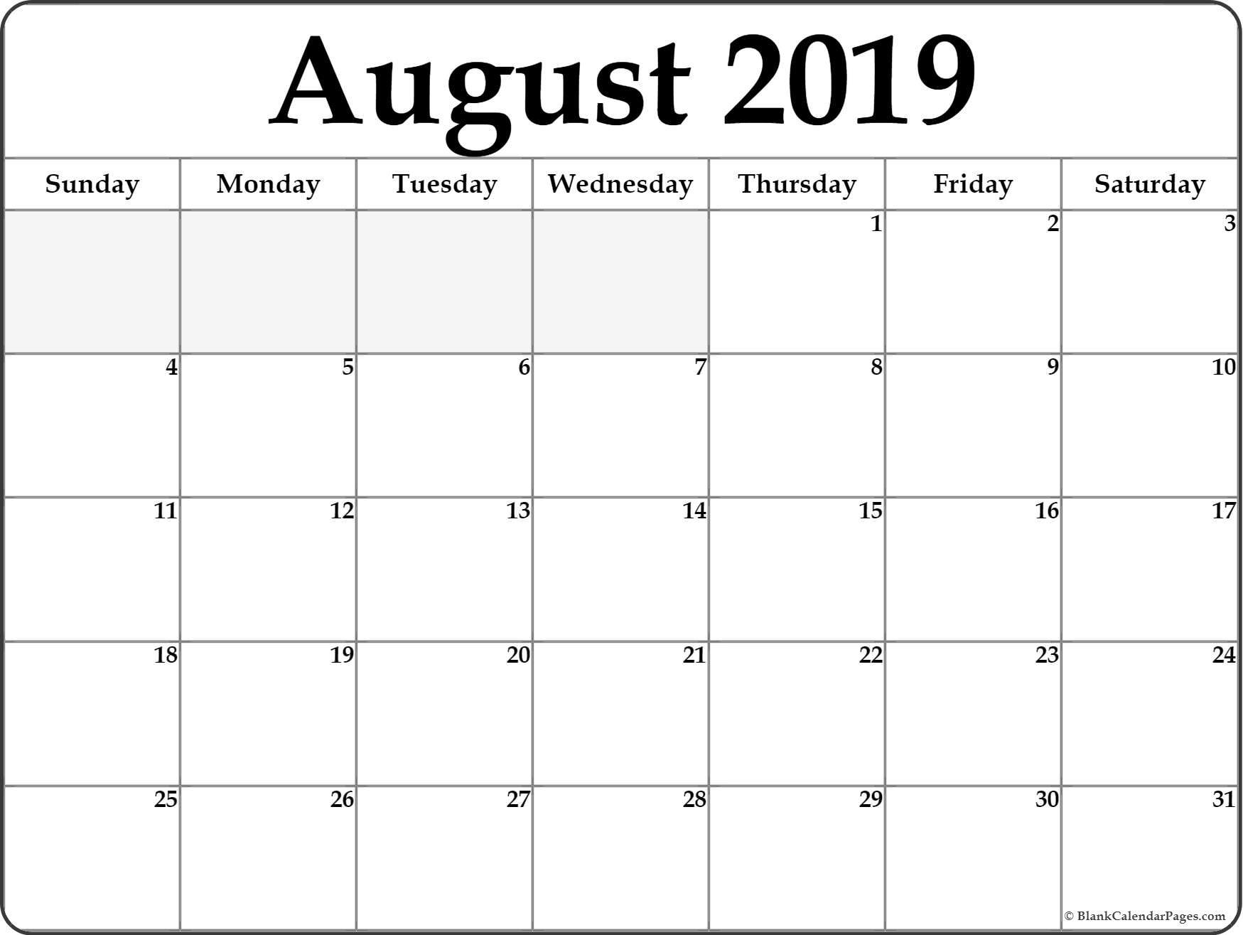 August 2019 Blank Calendar Templates. in Free Printable Calendar Templates 8 X 10