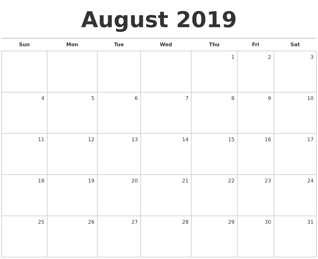 August 2019 Blank Monthly Calendar inside Blank Monthly Calendar With Lines