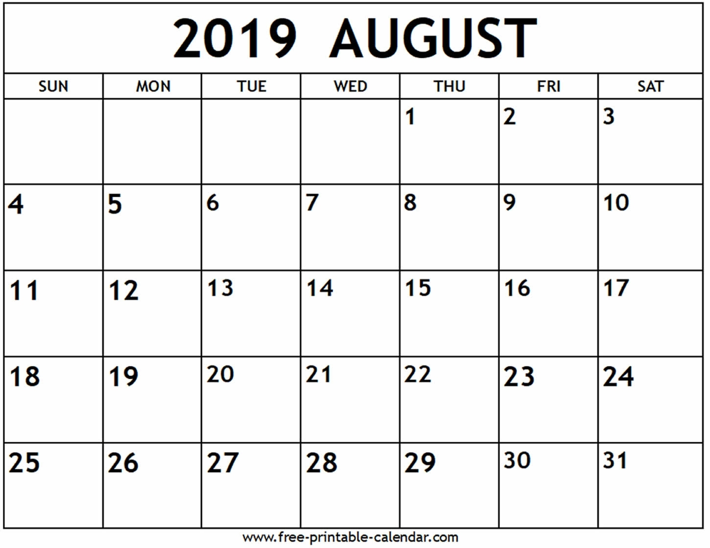August 2019 Calendar - Free-Printable-Calendar throughout Numbers Free Printable Calendar For August