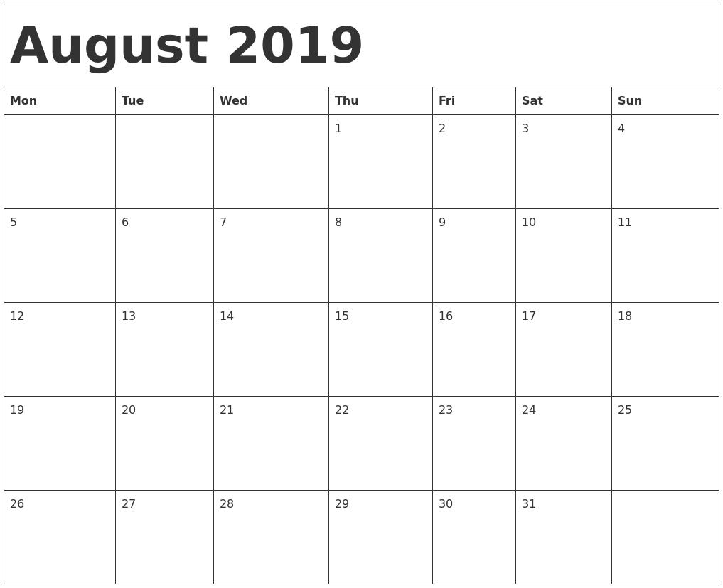 August 2019 Calendar | Printable Calendar Template pertaining to 2023 Calendar Printable One Page E Printable